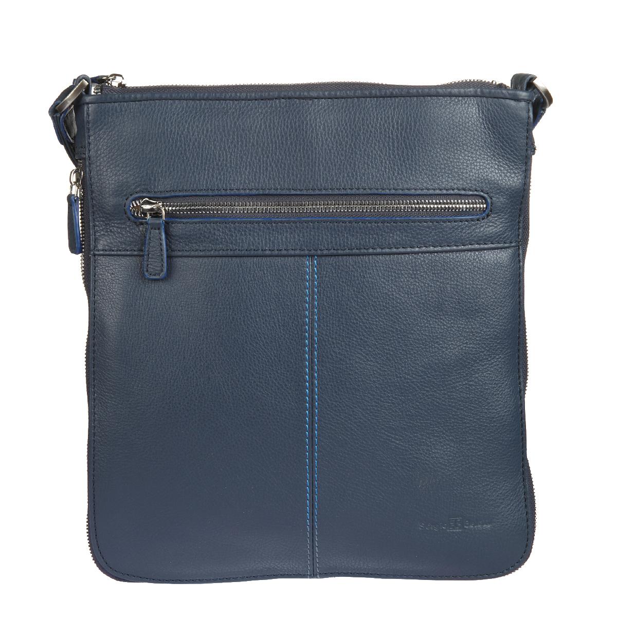 Планшет мужской Sergio Belotti, цвет: синий. 9813 indigo jeans9813 indigo jeansПланшет мужской Sergio Belotti выполнен из натуральной кожи синего цвета. Состоит он из одного отделения, закрывающегося на молнию. Внутри отделения расположены вшитый карман на пластиковой молнии и два накладных кармашка для мобильного телефона или мелких предметов. Снаружи на передней и задней стенках расположены вшитые горизонтальные карманы на молниях. По периметру планшета расположена молния, за счет которой можно увеличить ширину планшета до 7 см. Планшет оснащен плечевым ремнем регулируемой длины, также к нему прилагается фирменный текстильный чехол для его бережного хранения. Этот стильный аксессуар станет изысканным дополнением к вашему образу и отличным подарком!