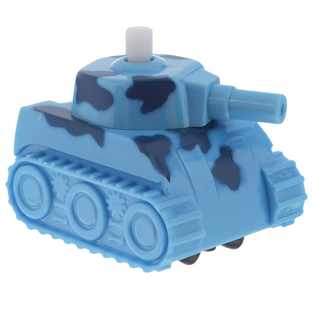 Игрушка заводная Танчик, цвет: голубой2K-06BD_ голубойИгрушка Hans Танчик привлечет внимание вашего малыша и не позволит ему скучать! Выполненная из безопасного пластика, игрушка представляет собой танк. Игрушка имеет механический завод. Для запуска, придерживая колеса, поверните заводной ключ по часовой стрелке до упора. Установите игрушку на поверхность и она поедет вперед. Заводная игрушка Hans Танчик поможет ребенку в развитии воображения, мелкой моторики рук, концентрации внимания и цветового восприятия.
