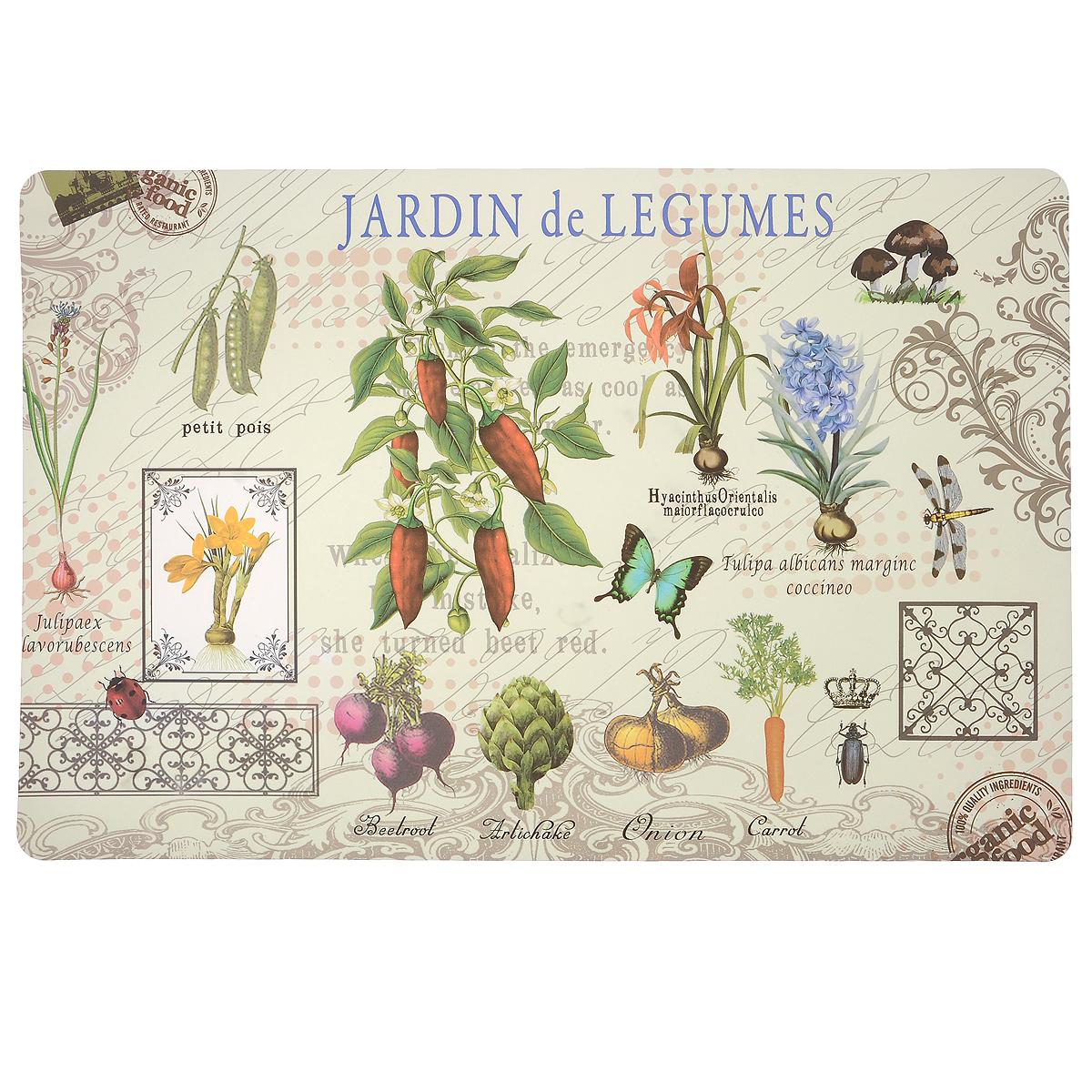 Подставка под горячее Hans & Gretchen Jardin de Legumes, 43,5 см х 28,5 см. 28HZ-907228HZ-9072Прямоугольная подставка под горячее Hans & Gretchen Jardin de Legumes выполнена из мягкого пластика. Изделие, украшенное красочным изображением, идеально впишется в интерьер современной кухни. Подставка не боится высоких температур и легко чистится от пятен и жира. Каждая хозяйка знает, что подставка под горячее - это незаменимый и очень полезный аксессуар на каждой кухне. Ваш стол будет не только украшен оригинальной подставкой с красивым рисунком, но и сбережен от воздействия высоких температур ваших кулинарных шедевров. Размер подставки: 43,5 см х 28,5 см.