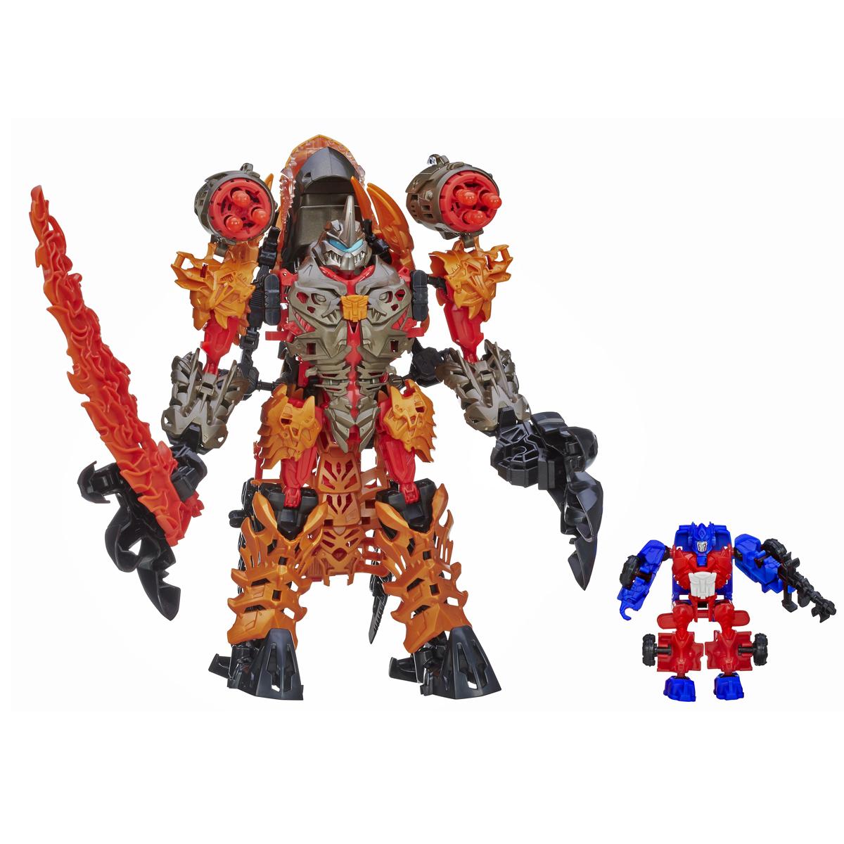 Transformers Констракт-Боты: Dinofire Grimlock & Optimus PrimeA6146Трансформер Констракт-Боты: Dinofire Grimlock & Optimus Prime непременного приведет в восторг любого мальчишку. Он сможет сам сконструировать персонажей из пластиковых деталей, держа перед глазами подробную инструкцию. Комплект позволяет собрать Гримлока - страшного и сильного динозавра, а также Оптимуса Прайма, который трансформируется в грузовик. В 4 простых шага вы сможете легко и быстро трансформировать фигурку робота в могучего динозавра. Начинающий инженер опробует свои силы в конструировании и разовьет творческое мышление. Игрушка оснащена световыми и звуковыми эффектами, а также функция стрельбы. В комплект входит буклет со схематичными инструкциями для сборки фигурок. Ваш ребенок часами будет играть с конструктором, придумывая разные истории. Порадуйте его таким замечательным подарком! Рекомендуется докупить 2 батарейки типа AG13 (LR44) (товар комплектуется демонстрационными).