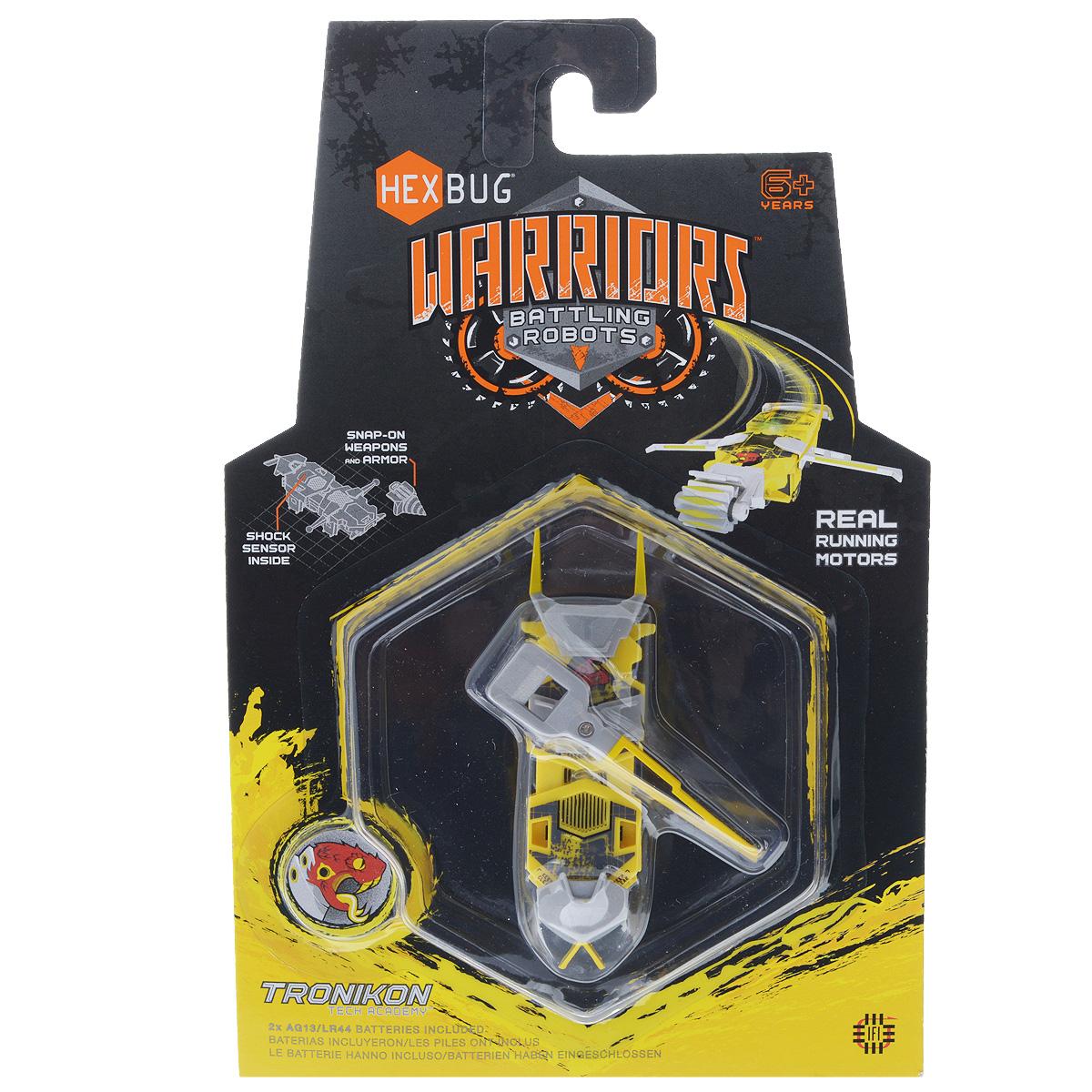 Микро-робот Hexbug Warriors. Tronikon, цвет: желтый. S1-1С477-1982_S1-1С желтыйМикро-робот Hexbug Warriors. Tronikon - робот-жук, создан по уникальной нано-технологии, он имеет мощный электромотор, за счет вибрации которого он движется вперед и сметает все на своем пути. Крутящиеся сабли, наносящие точные удары, вибрирующие крылышки и разрезающий на куски диск. Микро-робот оснащен сменными элементами кинетической амуниции, датчиком удара, функцией контроля уровня здоровья. Доступны 2 уровня игры: тренировка и битва. В режиме Тренировка датчик удара и функция контроля уровня здоровья отключены. В режиме Битва каждый удар снижает уровень здоровья микро-робота. Подготовьте бойца к сражению, нажмите на кнопку и удерживайте ее в течение трех секунд, когда загорится зеленый индикатор жизни - смело отпускайте его в бой. Для работы микро-робота необходимы 2 батареи типа LR44 (входят в комплект).