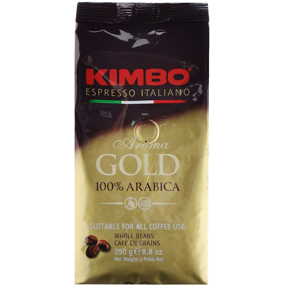 Kimbo Aroma Gold 100% Arabica кофе в зернах, 250 г8002200102135Натуральный жареный кофе в зернах Kimbo Aroma Gold 100% Arabica. Смесь превосходной арабики отличается нежным вкусом, мягкой кислинкой и тонким ароматом. Состав смеси: 100% арабика.