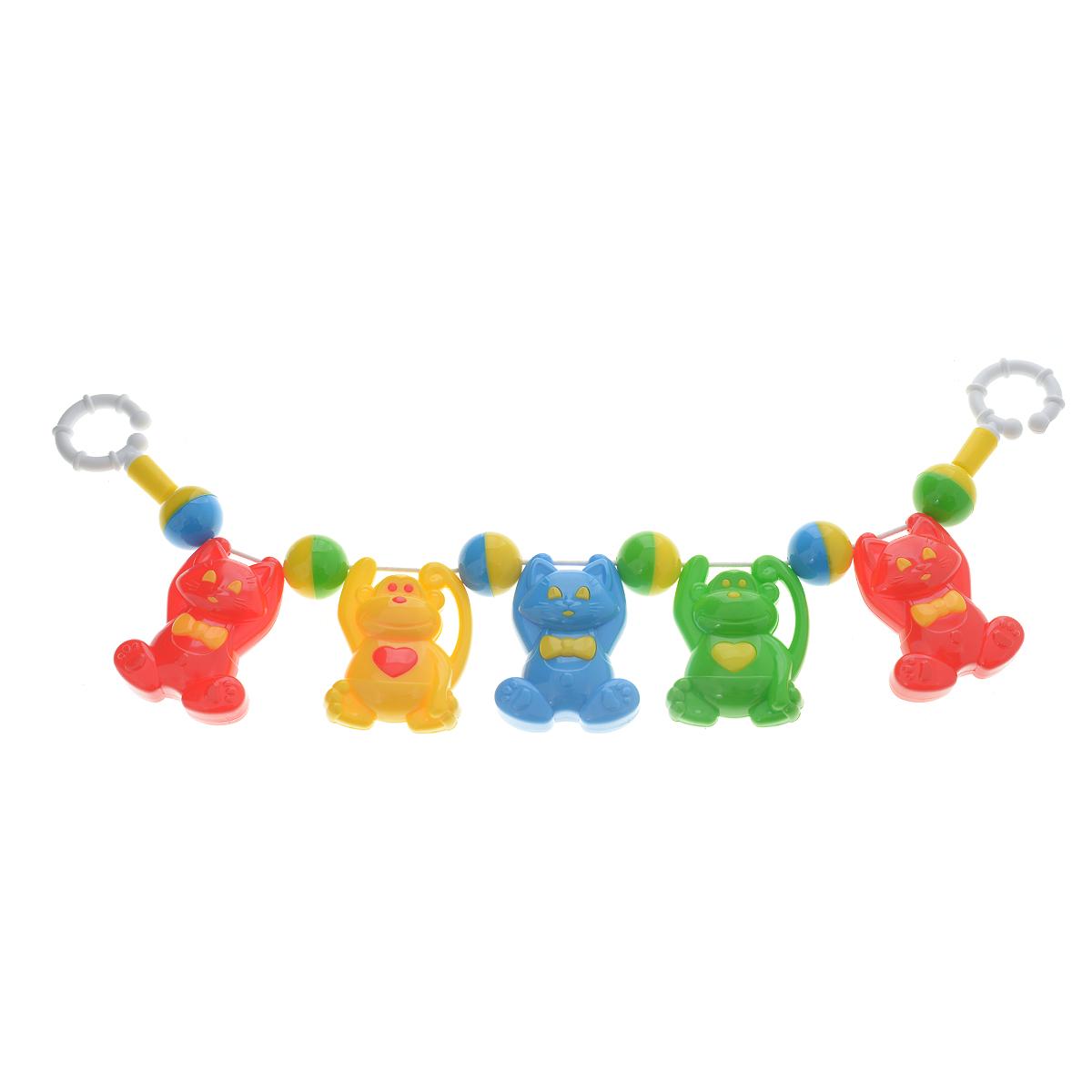 Погремушка подвеска на коляску Stellar-котята/обезьянки01516Яркая красочная погремушка Stellar, непременно, привлечет внимание вашего малыша и не позволит ему скучать. Погремушка представляет собой пять разноцветных зверушек, прикрепленных к резинке. На концах резинки расположены разъемные кольца, при помощи которых погремушку удобно крепить. Погремушка поможет вашему малышу познакомиться с основными цветами и развить мелкую моторику рук и координацию движений.