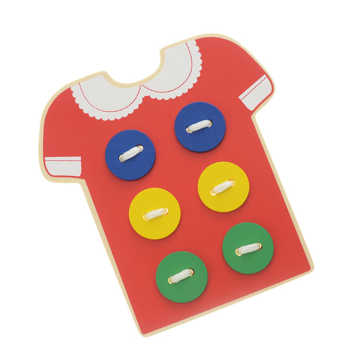 Игра-шнуровка Bondibon ПлатьеВВ1088Игра-шнуровка Bondibon Платье состоит из деревянной основы в виде платья и текстильного шнурка. Одним из самых эффективных способов развития мелкой моторики являются игры-шнуровки. При выполнении узоров обращайте внимание ребенка на количество линий в рисунке, на размер линий (длинная, короче, самая короткая), на их направление (горизонтально, вертикально или по диагонали) и на их расположение на поле (справа, слева, вверху, внизу). Познакомьте ребенка с понятием симметрия, сделав несколько симметричных рисунков или узоров. Расскажите ребенку о простейших геометрических фигурах, изображая их шнурками: прямая, отрезок, ломаная линия, угол, треугольник, квадрат, прямоугольник, многоугольник. Кроме этого, используя данную игру, вы можете познакомить малыша с различными типами швов, научить пришивать пуговицы. Игра-шнуровка Bondibon Платье - это не просто игрушка, а довольно универсальное приспособление по развитию мелкой моторики,...
