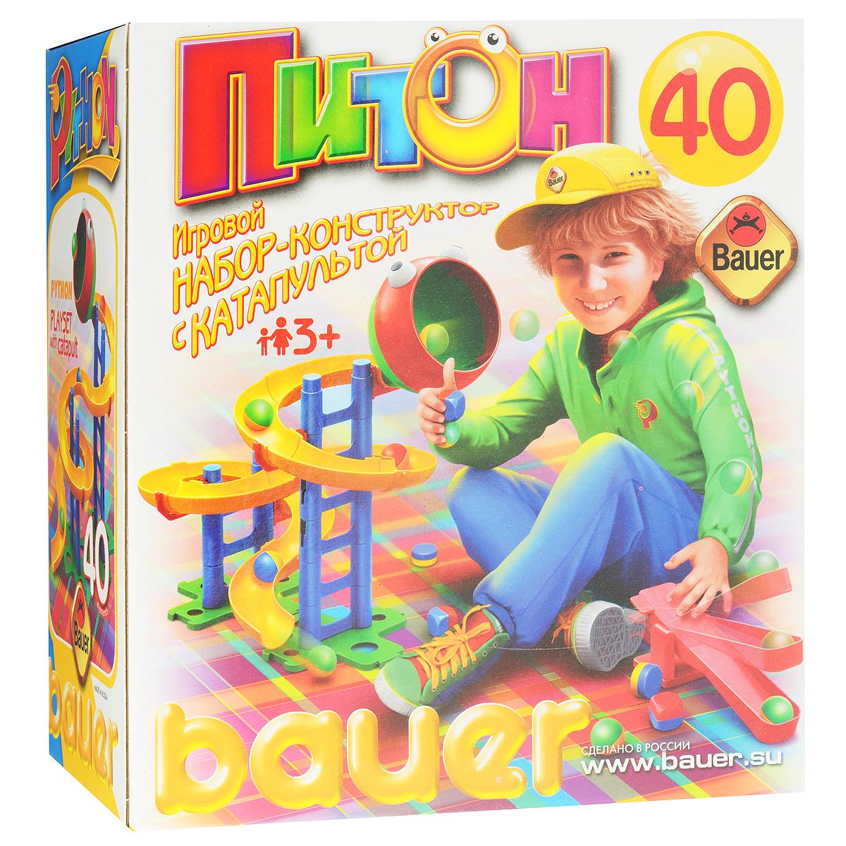Bauer Конструктор Питончик с катапультой037Игровой набор-конструктор Питончик с катапультой это не только интересный конструктор, но и веселая игра. Конструктор включает в себя горку для шариков и катапульту. С помощью последней нужно забросить шарик в воронку, которая находиться на вершине горки. А с горки шарик скатиться сам. Горка представляет собой две сборные лесенки, на которых крепится сборный спиралеобразный желоб - он собирается из отдельных частей. Можно собрать питона любой формы, главное - не промахнуться и ядра покатятся по необычному маршруту обратно к юному метателю! Игра развивает мелкую моторику, координацию движений. Комплектация набора: детали для сборки, горки, воронка, катапульта, шарики, инструкция. Игры с конструкторами помогут ребенку развить воображение, внимательность, пространственное мышление и творческие способности. Ваш малыш сможет часами играть с ним, собирая оригинальные конструкции.