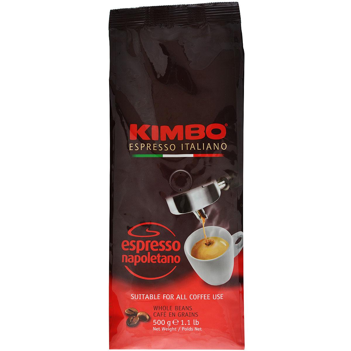 Kimbo Espresso Napoletano кофе в зернах, 500 г8002200602130Натуральный жареный кофе в зернах Kimbo Espresso Napoletano с интенсивным вкусом и богатым ароматом. Традиционная неаполитанская обжарка характеризуется густой пенкой. Идеально подходит для любителей крепкого эспрессо. Смесь содержит 90% арабики и 10% робусты.
