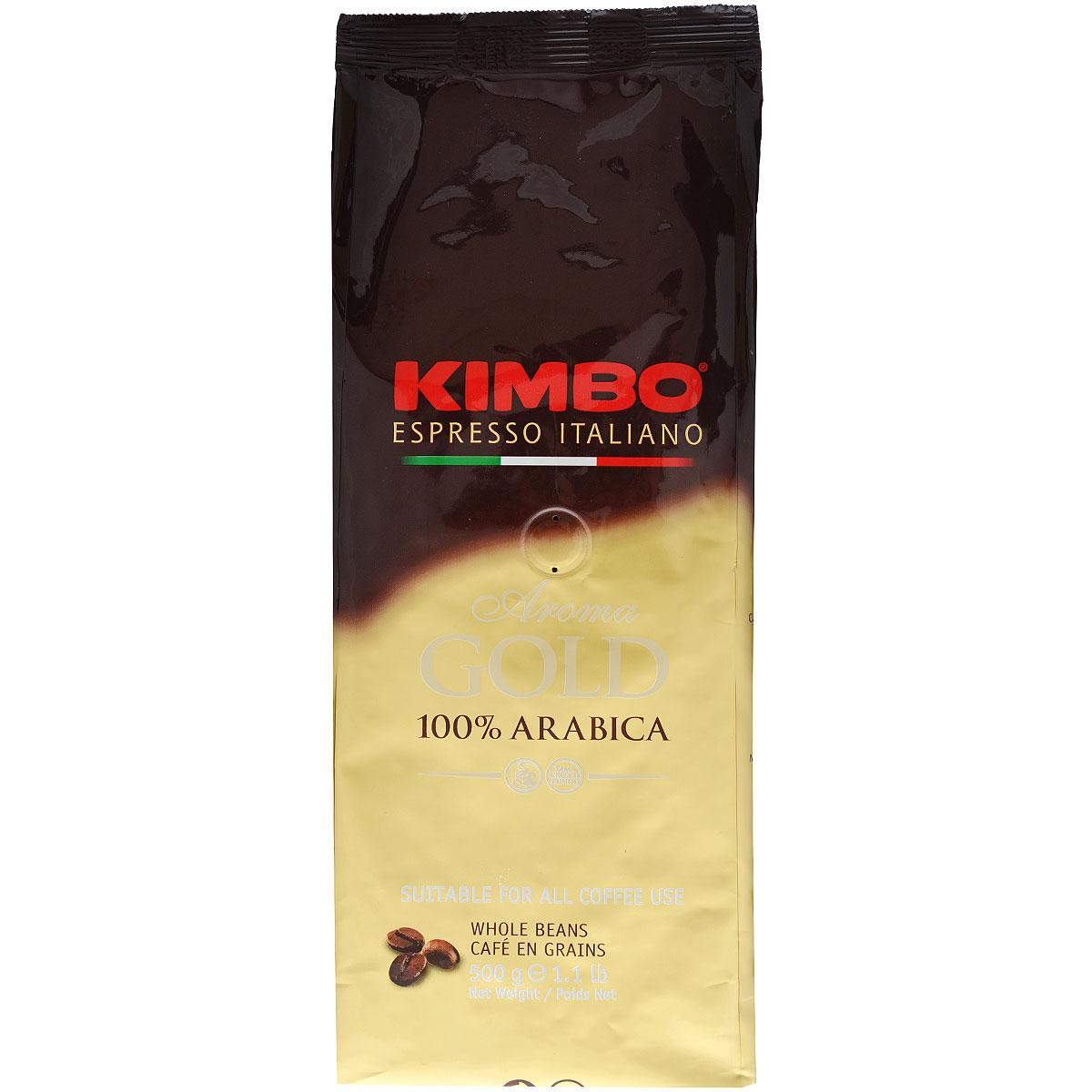 Kimbo Aroma Gold 100% Arabica кофе в зернах, 500 г8002200102159Натуральный жареный кофе в зернах Kimbo Aroma Gold 100% Arabica. Смесь превосходной арабики отличается нежным вкусом, мягкой кислинкой и тонким ароматом. Состав смеси: 100% арабика.