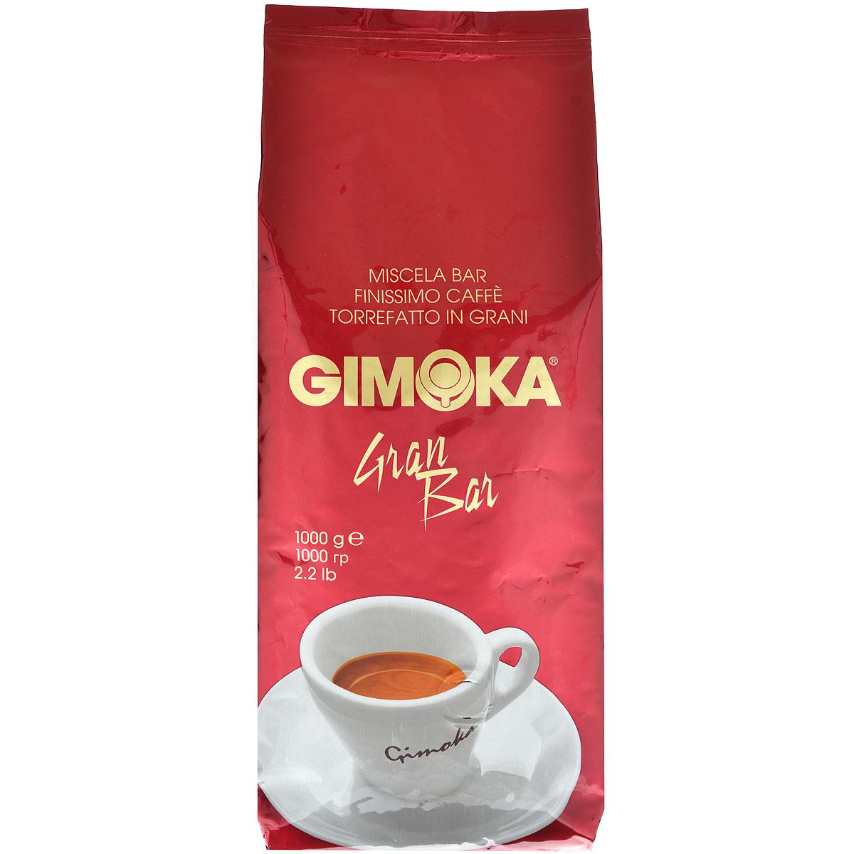 Gimoka Rossa Gran Bar кофе в зернах, 1 кг8003012000039Натуральный жареный кофе в зернах Gimoka Rossa Gran Bar. Кофейная смесь обладает интенсивным и устойчивым ароматом, а специальная обжарка придает насыщенность и крепость. Состав смеси: 70% арабика, 30% робуста.