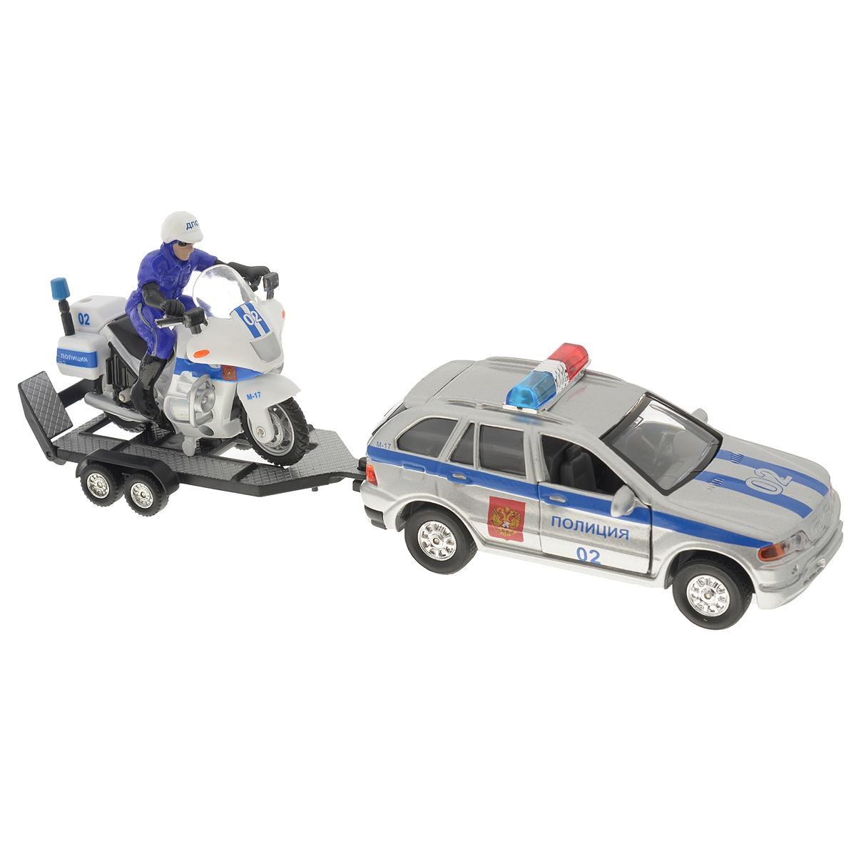 ТехноПарк Игрофой набор Полиция с мотоциклом на прицепеCT11-313Игровой набор Технопарк Полиция с мотоциклом на прицепе несомненно понравится вашему ребенку и не позволит ему скучать. В наборе представлены металлическая инерционная машинка с открывающимися дверьми и багажником, прицеп и мотоцикл с мотоциклистом. Машинка оборудована звуковыми и световыми эффектами - при нажатии на крышу машинки раздастся голос диспетчера и замигают огоньки. Игрушка оснащена инерционным ходом. Машинку необходимо отвести назад, затем отпустить - и она быстро поедет вперед. Прорезиненные колеса обеспечивают надежное сцепление с любой поверхностью пола. Ваш ребенок будет часами играть с набором, придумывая различные истории. С таким набором можно придумать множество игровых сюжетов для увлекательного и веселого времяпрепровождения. Этот игровой набор обязательно понравится вашему ребенку и поможет обеспечить увлекательный досуг. Порадуйте своего малыша такой интересной игрушкой!