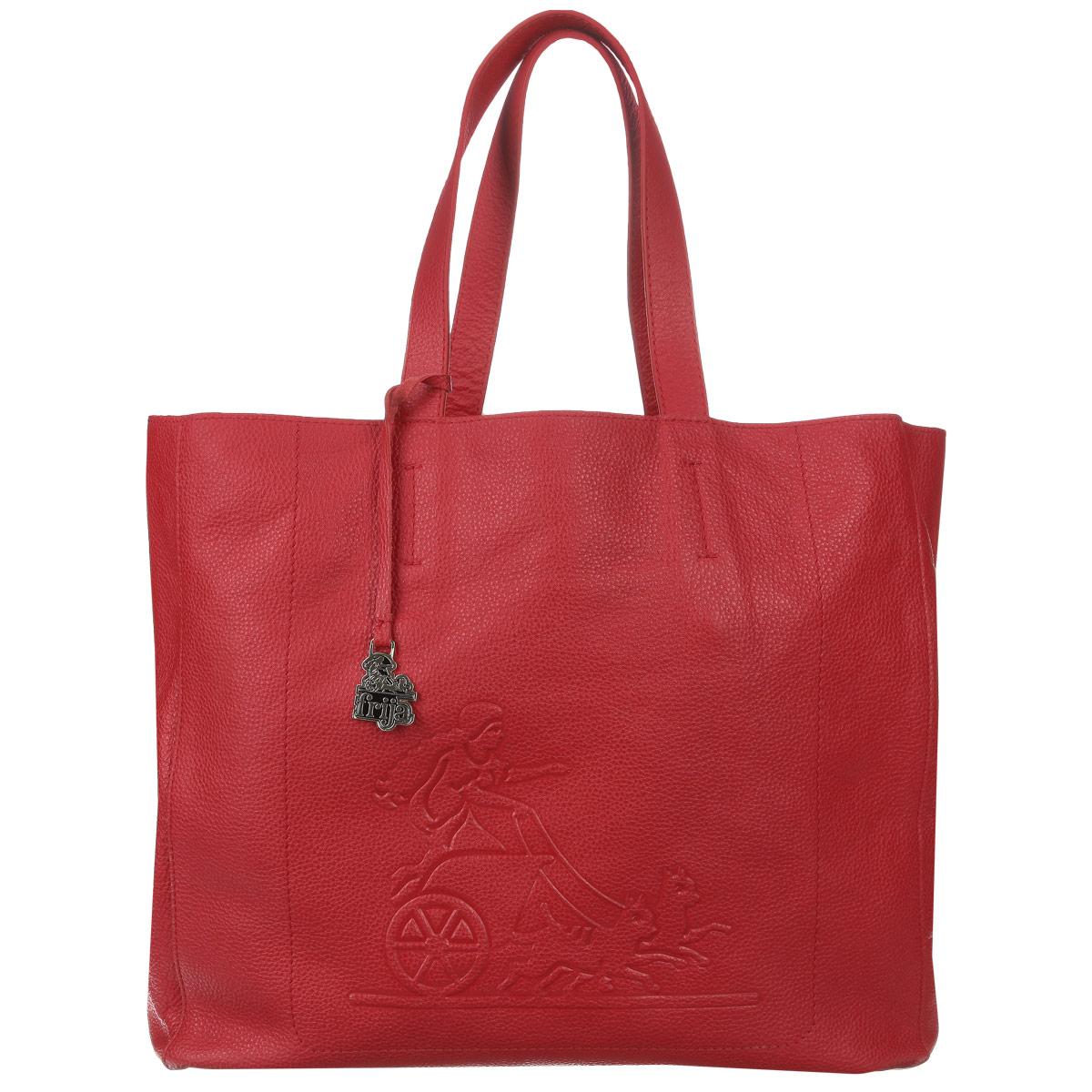 Сумка женская Frija, цвет: красный. 21-0202-13-FL21-0202-13-FLСтильная и удобная женская сумка Frija выполнена из мягкой натуральной кожи с фактурной поверхностью. Лицевая сторона изделия оформлена оригинальным тиснением в виде логотипа бренда. Сумка имеет одно вместительное отделение, дополненное накладным карманом на застежке-молнии. Изюминка модели - текстильный вкладыш в главном отделении, который крепится к корпусу сумки при помощи кнопок, закрывается на удобную застежку-молнию. Внутри вкладыша - врезной карман на застежке-молнии. Сумка оснащена двумя удобными ручками, позволяющими носить её на плече. Изделие упаковано в фирменный чехол. Сумка Frija - это стильный аксессуар, который подчеркнет вашу изысканность и индивидуальность и сделает ваш образ завершенным.