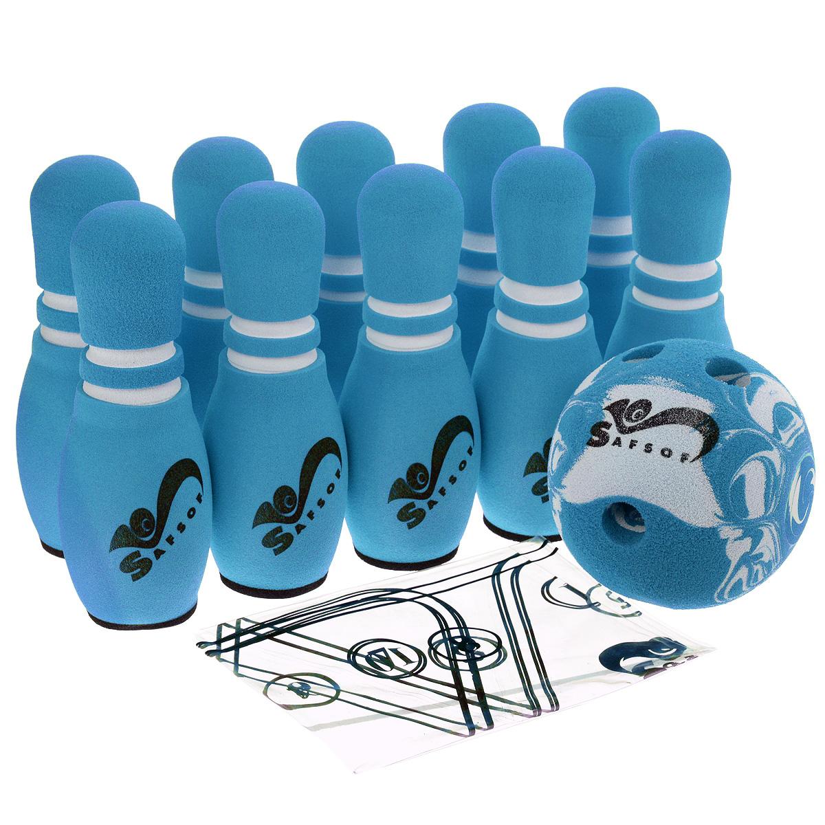 """Игровой набор Safsof """"Боулинг"""", цвет: белый, голубой, диаметр шара 12 см JBB-01-1(B)голубой"""