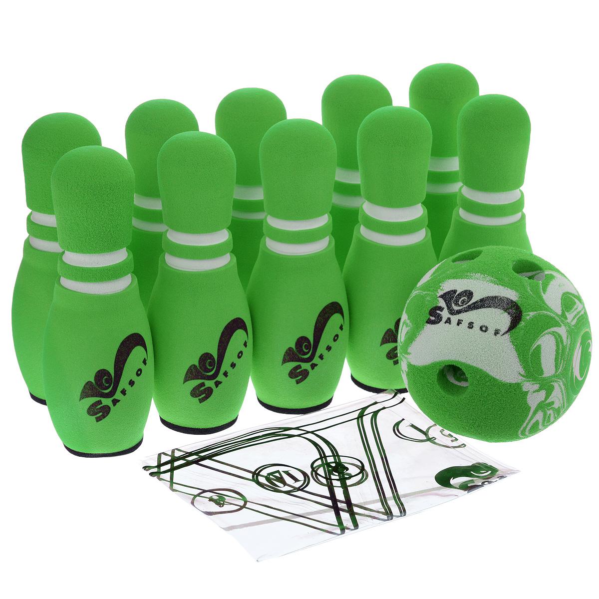 Игровой набор Safsof Боулинг, цвет: белый, зеленый, диаметр шара 12 смJBB-01-1(B)зеленыйИгровой набор Safsof Боулинг, изготовленный из вспененной резины, состоит из десяти кеглей и одного шара. Он безопасен и мягок, это обеспечивает безопасность ребенку. Суть игры в боулинг - сбить шаром максимальное количество кеглей. Число игроков и количество туров - произвольное. Очки, набранные с каждым броском мяча, рассматриваются как количество сбитых кегель. Расстояние, с которого совершается бросок, определяется игроками. Каждый игрок имеет право на два броска в одной рамке (рамка - треугольник, на поле которого выстраиваются кегли перед каждым первым броском очередного игрока). Бросок, при котором все кегли сбиты, называется страйк и обозначается как Х. Если все кегли сбиты первым броском, второй бросок не требуется: рамка считается закрытой. Призовые очки за страйк - это сумма кеглей, сбитых игроком следующими двумя бросками. Выигрывает тот игрок, который в сумме набирает больше очков. Диаметр шара: 12 см. Высота кегель: 21 см.