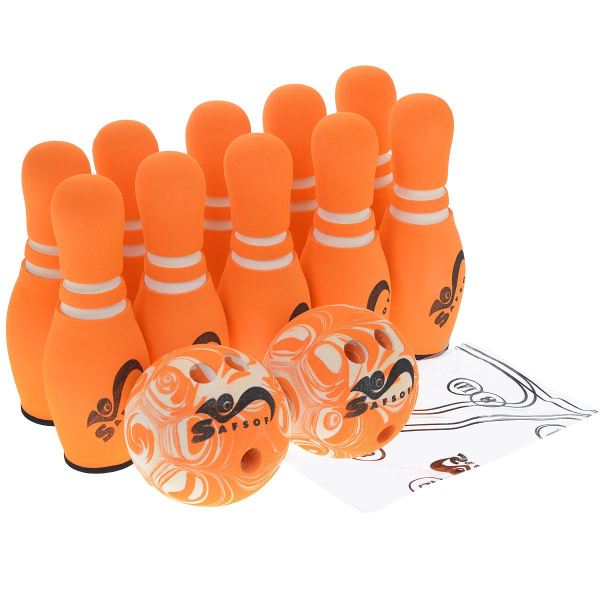 Игровой набор Safsof Боулинг, цвет: белый, оранжевый, диаметр шара 14 смJBB-07-2(B)оранжевыйИгровой набор Safsof Боулинг, изготовленный из вспененной резины, состоит из десяти кеглей и двух шаров. Он безопасен и мягок, это обеспечивает безопасность ребенку. Суть игры в боулинг - сбить шаром максимальное количество кеглей. Число игроков и количество туров - произвольное. Очки, набранные с каждым броском мяча, рассматриваются как количество сбитых кегель. Расстояние, с которого совершается бросок, определяется игроками. Каждый игрок имеет право на два броска в одной рамке (рамка - треугольник, на поле которого выстраиваются кегли перед каждым первым броском очередного игрока). Бросок, при котором все кегли сбиты, называется страйк и обозначается как Х. Если все кегли сбиты первым броском, второй бросок не требуется: рамка считается закрытой. Призовые очки за страйк - это сумма кеглей, сбитых игроком следующими двумя бросками. Выигрывает тот игрок, который в сумме набирает больше очков. Диаметр шаров: 14 см. Высота кегель: 30 см.