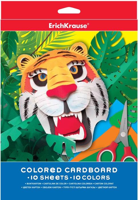 Цветной картон Erich Krause, формат А4, 10 цветов37199Набор цветного картона Erich Krause - это яркие насыщенные оттенки. Аппликации, коллажи, сделанные руками ребенка с использованием такого картона, превратятся в маленькие шедевры. Рекомендуемый возраст: 3+.