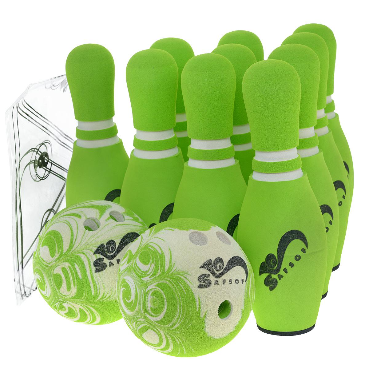 Игровой набор Safsof Боулинг, цвет: белый, зеленый, диаметр шара 14 смJBB-07-2(B)зеленыйИгровой набор Safsof Боулинг, изготовленный из вспененной резины, состоит из десяти кеглей и двух шаров. Он безопасен и мягок, это обеспечивает безопасность ребенку. Суть игры в боулинг - сбить шаром максимальное количество кеглей. Число игроков и количество туров - произвольное. Очки, набранные с каждым броском мяча, рассматриваются как количество сбитых кегель. Расстояние, с которого совершается бросок, определяется игроками. Каждый игрок имеет право на два броска в одной рамке (рамка - треугольник, на поле которого выстраиваются кегли перед каждым первым броском очередного игрока). Бросок, при котором все кегли сбиты, называется страйк и обозначается как Х. Если все кегли сбиты первым броском, второй бросок не требуется: рамка считается закрытой. Призовые очки за страйк - это сумма кеглей, сбитых игроком следующими двумя бросками. Выигрывает тот игрок, который в сумме набирает больше очков. Диаметр шаров: 14 см. Высота кегель: 30 см.