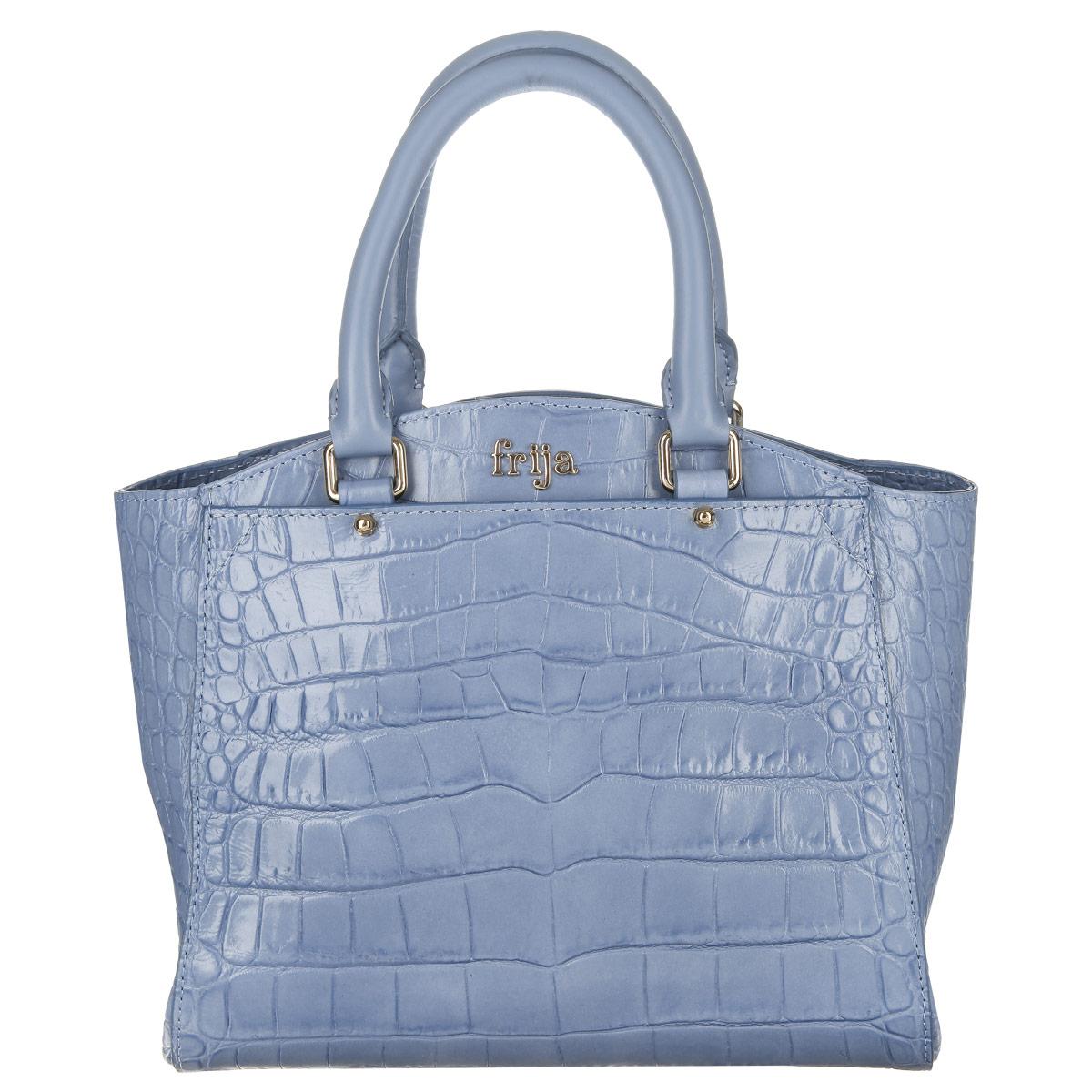 Сумка женская Frija, цвет: голубой. 21-0223-13-CR21-0223-13-CRСтильная женская сумка Frija выполнена из натуральной высококачественной кожи и оформлена тиснением под рептилию, гравировкой в виде названия бренда на лицевой стороне. Сумка имеет одно вместительное отделение, закрывающееся хлястиком на магнитную кнопку. Внутри отделения - два накладных кармашка для мелочей и телефона и врезной карман на застежке-молнии. На лицевой стороне сумка дополнена вместительным накладным карманом на магнитной кнопке. Ручки-жгуты крепятся к корпусу сумки на металлическую фурнитуру золотого цвета. В комплект с сумкой входит съемный плечевой ремень регулируемой длины. Сумка упакована в фирменный чехол. Сумка Frija - это стильный аксессуар, который подчеркнет вашу изысканность и индивидуальность и сделает ваш образ завершенным.