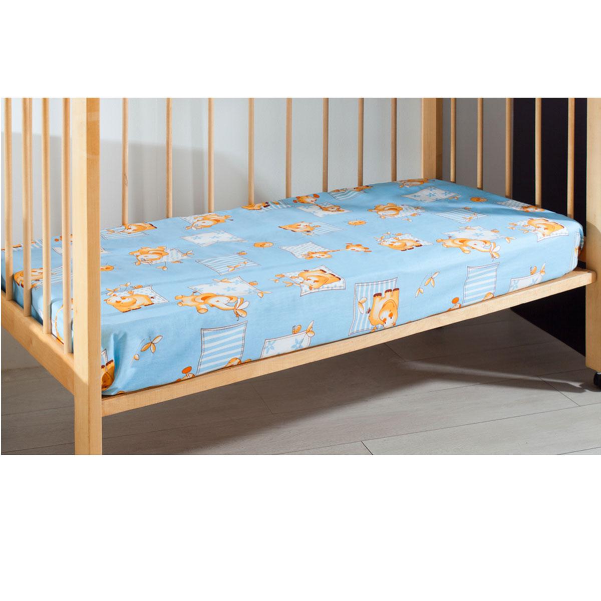 Простыня на резинке детская Primavelle, цвет: голубой, 60 см х 120 см х 20 см114612110-18Мягкая простыня на резинке Primavelle идеально подойдет для кроватки вашего малыша и обеспечит ему здоровый сон. Она изготовлена из натурального 100% хлопка, дарящего малышу непревзойденную мягкость. Простыня с помощью специальной резинки растягивается на матрасе. Она не сомнется и не скомкается, как бы не вертелся ребенок. Подарите вашему малышу комфорт и удобство! Размер простыни: 60 см х 120 см х 20 см.