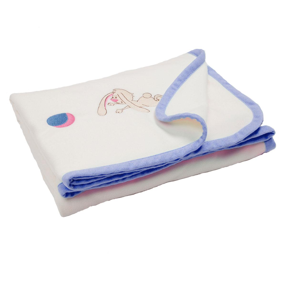 Флисовый плед с вышивкой Lovely 100х80 (голубой)250075118-18вСостав: однотонный флис с окантовкой