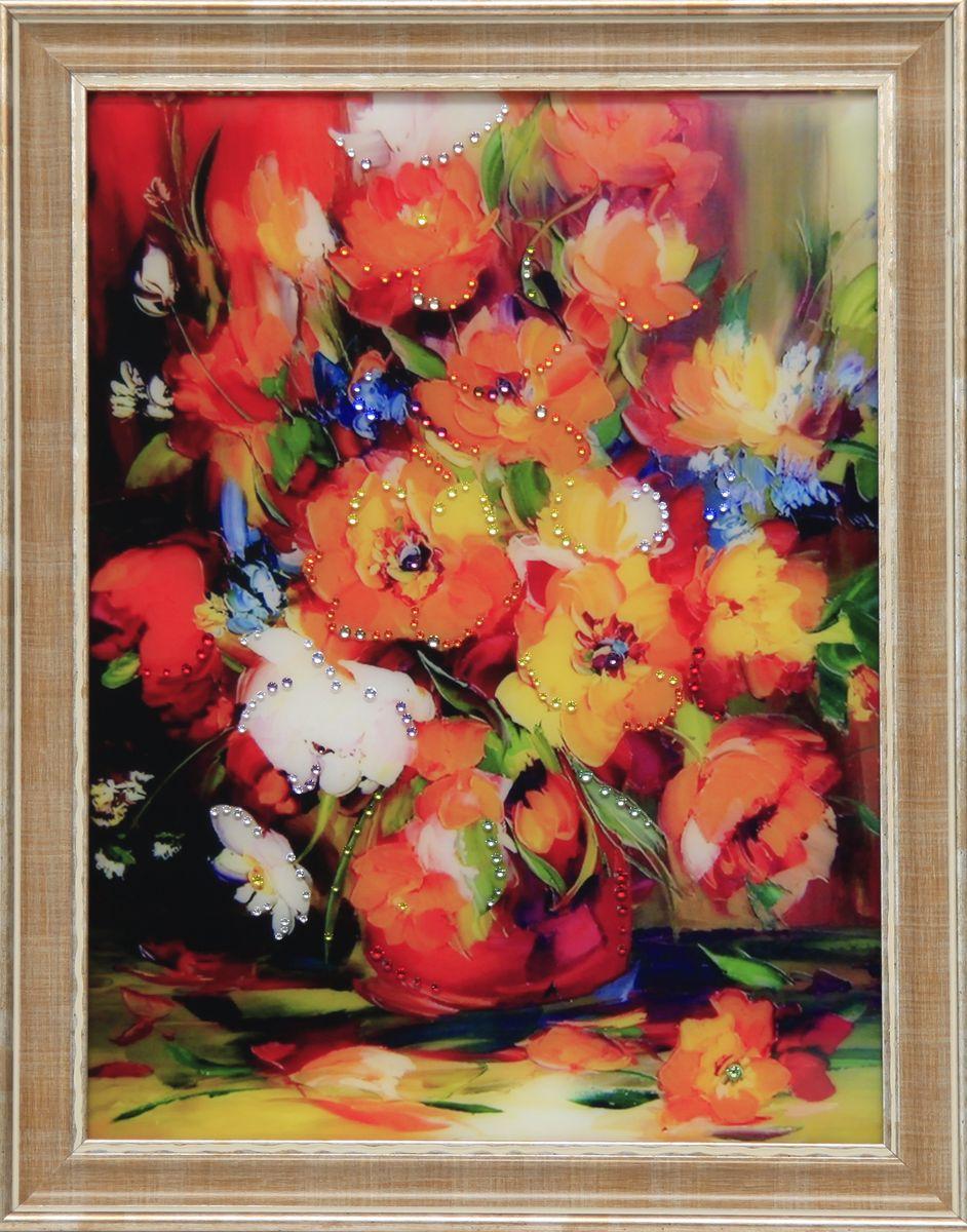 1625 Картина Сваровски Натюрморт Анемон1625стекло, хрусталь, пластик. 36,7х46,7