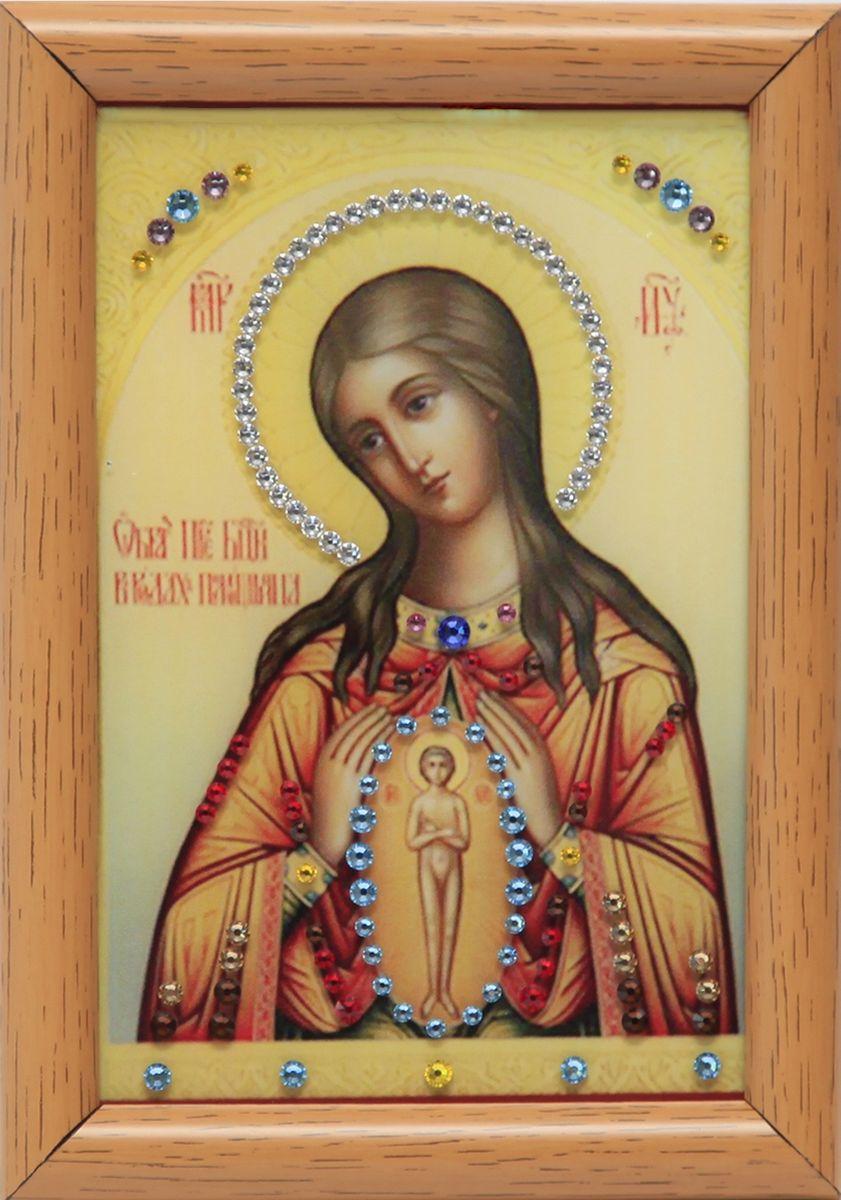 1614 Икона Помощница в родах1614стекло, хрусталь, алюминий. 12х17