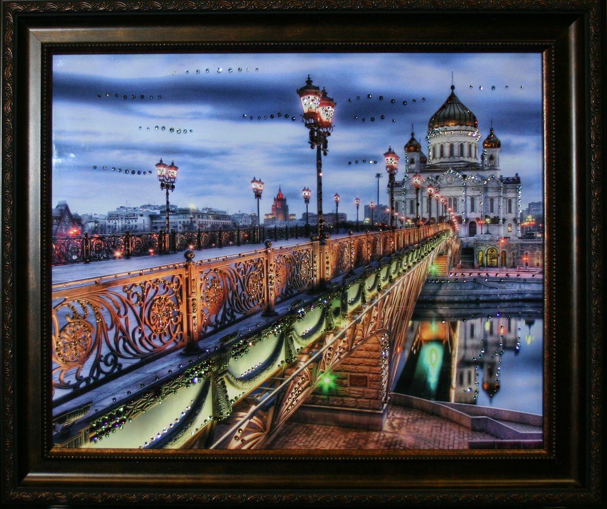 1590 Картина Сваровски ПАТРИАРШИЙ МОСТ1590стекло, хрусталь, алюминий. 60х50