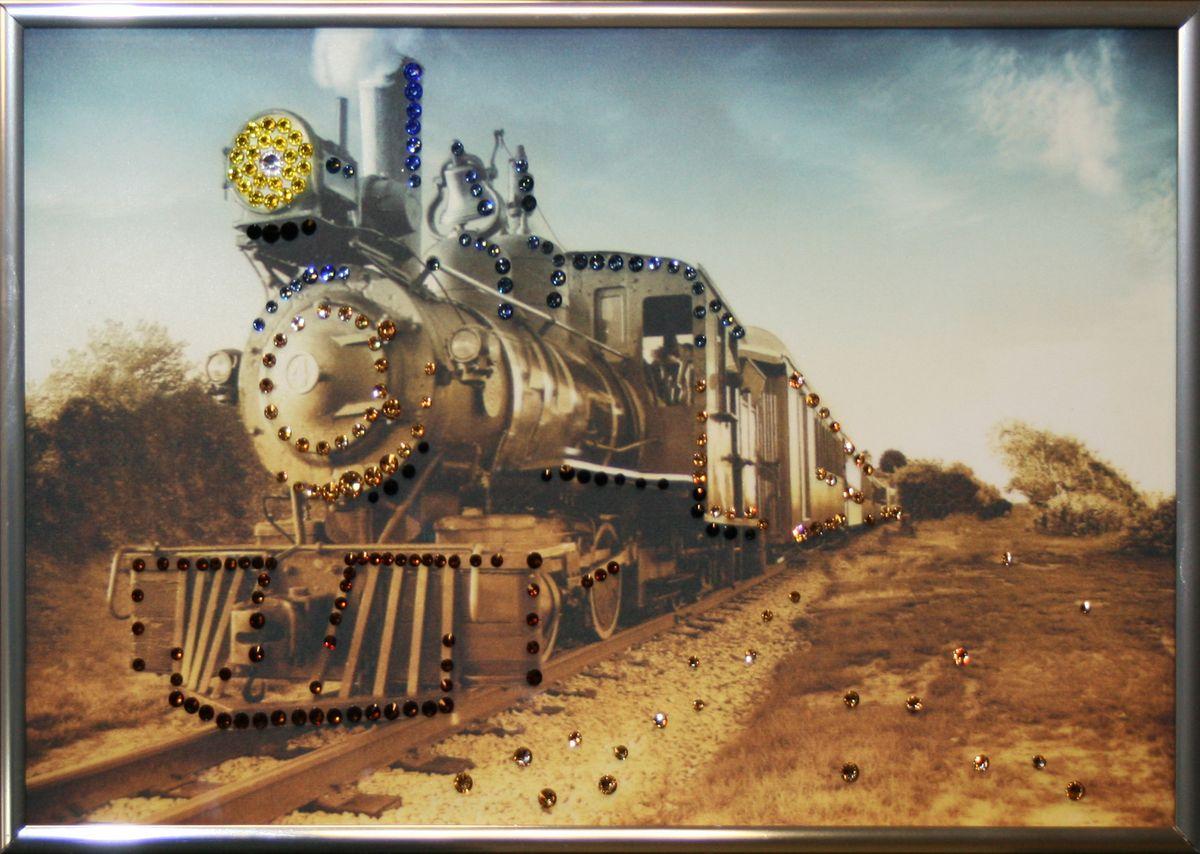 1598 Картина Сваровски ПАРОВОЗ НА ГОРИЗОНТЕ1598стекло, хрусталь, алюминий. 30х20
