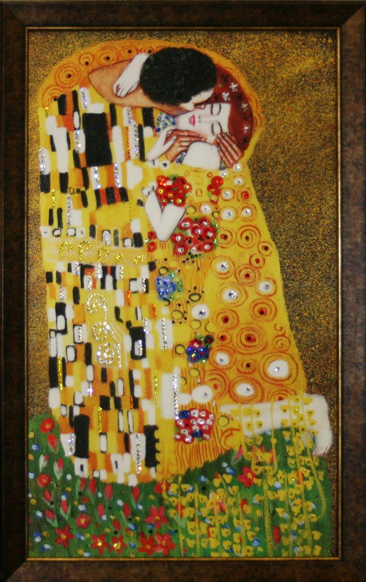 1533 Картина Сваровски Поцелуй Клинт1533стекло, хрусталь, алюминий. 40х70