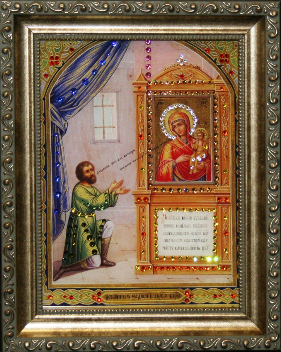 1555 ИКОНА БОЖИЕЙ МАТЕРИ НЕЧАЯННАЯ РАДОСТЬ1555стекло, хрусталь, алюминий. 20,5х26