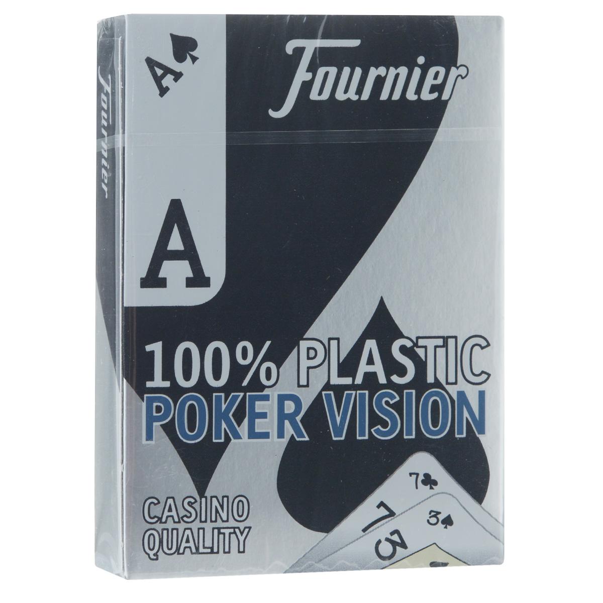 Карты игральные Fournier Poker Vision, цвет: синий, 55 штFOURNIER_POKER_VISION_BLUE