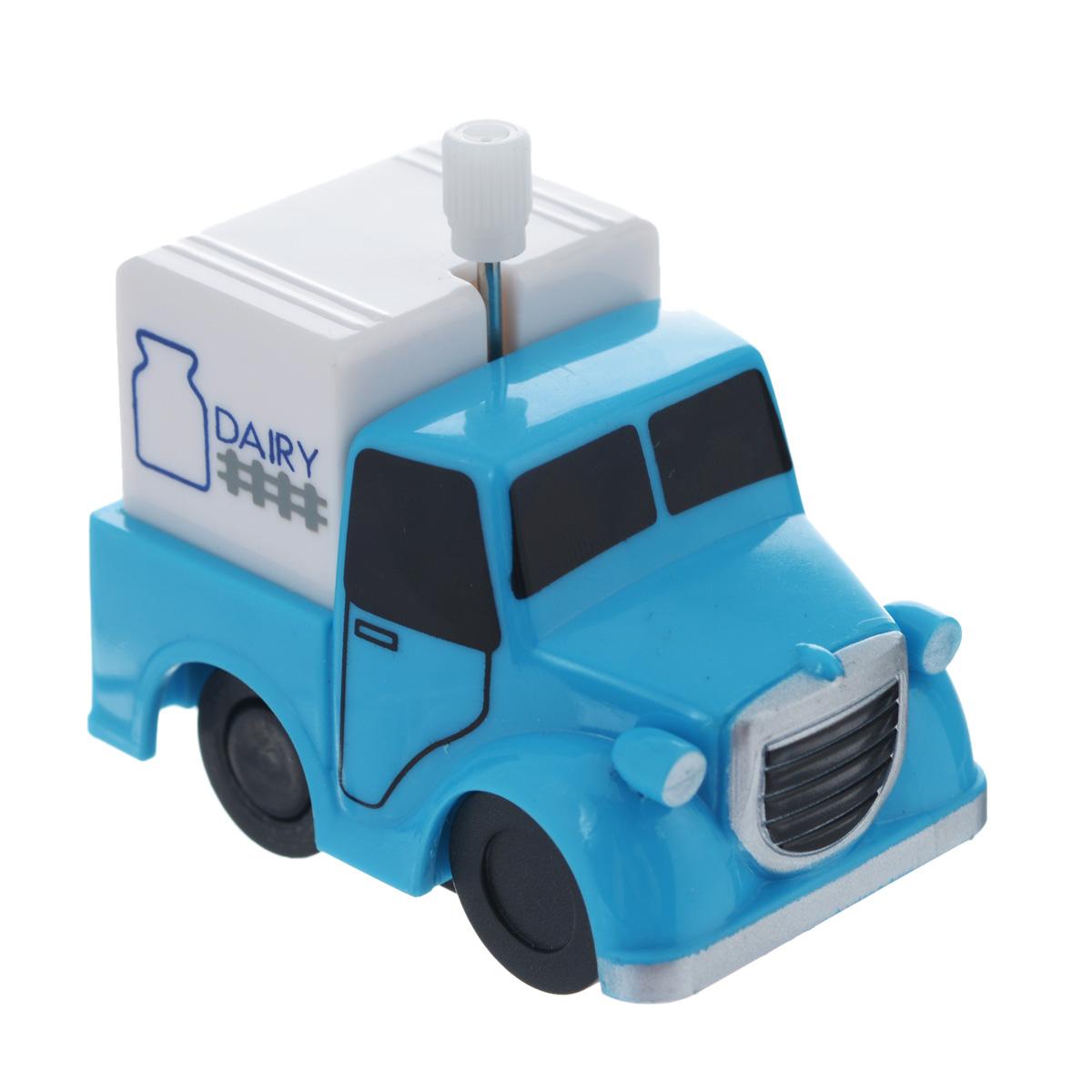 Игрушка заводная Грузовичок Dairy2K-012BD_ DairyИгрушка Hans Грузовичок Dairy привлечет внимание вашего малыша и не позволит ему скучать! Выполненная из безопасного пластика, игрушка представляет собой грузовичок. Игрушка имеет механический завод. Для запуска, придерживая колеса, поверните заводной ключ по часовой стрелке до упора. Установите игрушку на поверхность и она поедет вперед. Заводная игрушка Hans Грузовичок Dairy поможет ребенку в развитии воображения, мелкой моторики рук, концентрации внимания и цветового восприятия.