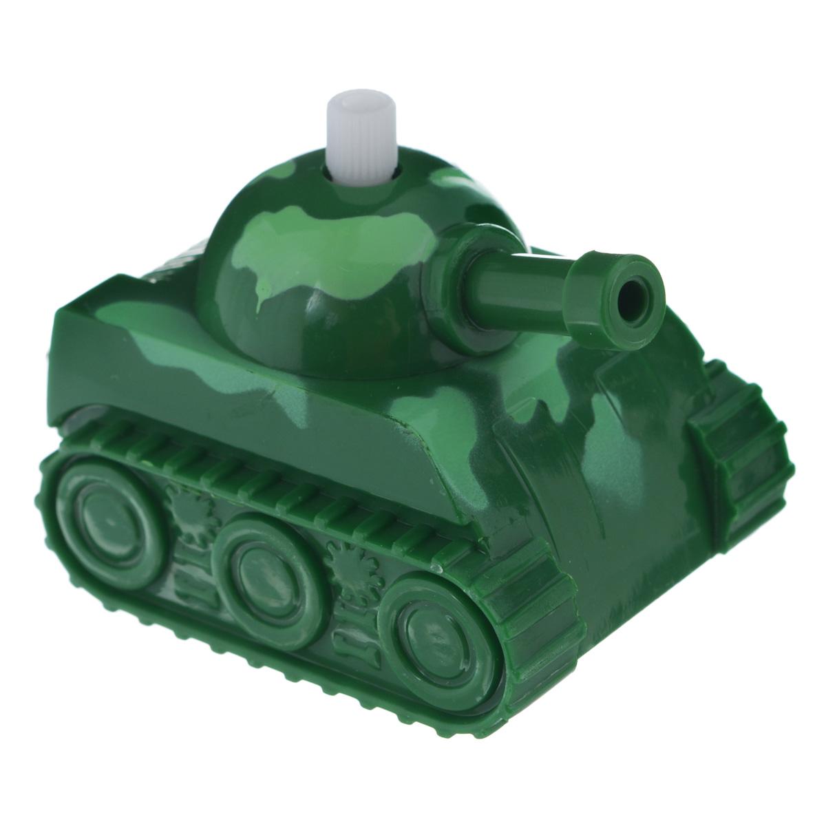 Игрушка заводная Танчик, цвет: зеленый2K-06BD_ зеленыйИгрушка Hans Танчик привлечет внимание вашего малыша и не позволит ему скучать! Выполненная из безопасного пластика, игрушка представляет собой танк. Игрушка имеет механический завод. Для запуска, придерживая колеса, поверните заводной ключ по часовой стрелке до упора. Установите игрушку на поверхность и она поедет вперед. Заводная игрушка Hans Танчик поможет ребенку в развитии воображения, мелкой моторики рук, концентрации внимания и цветового восприятия.