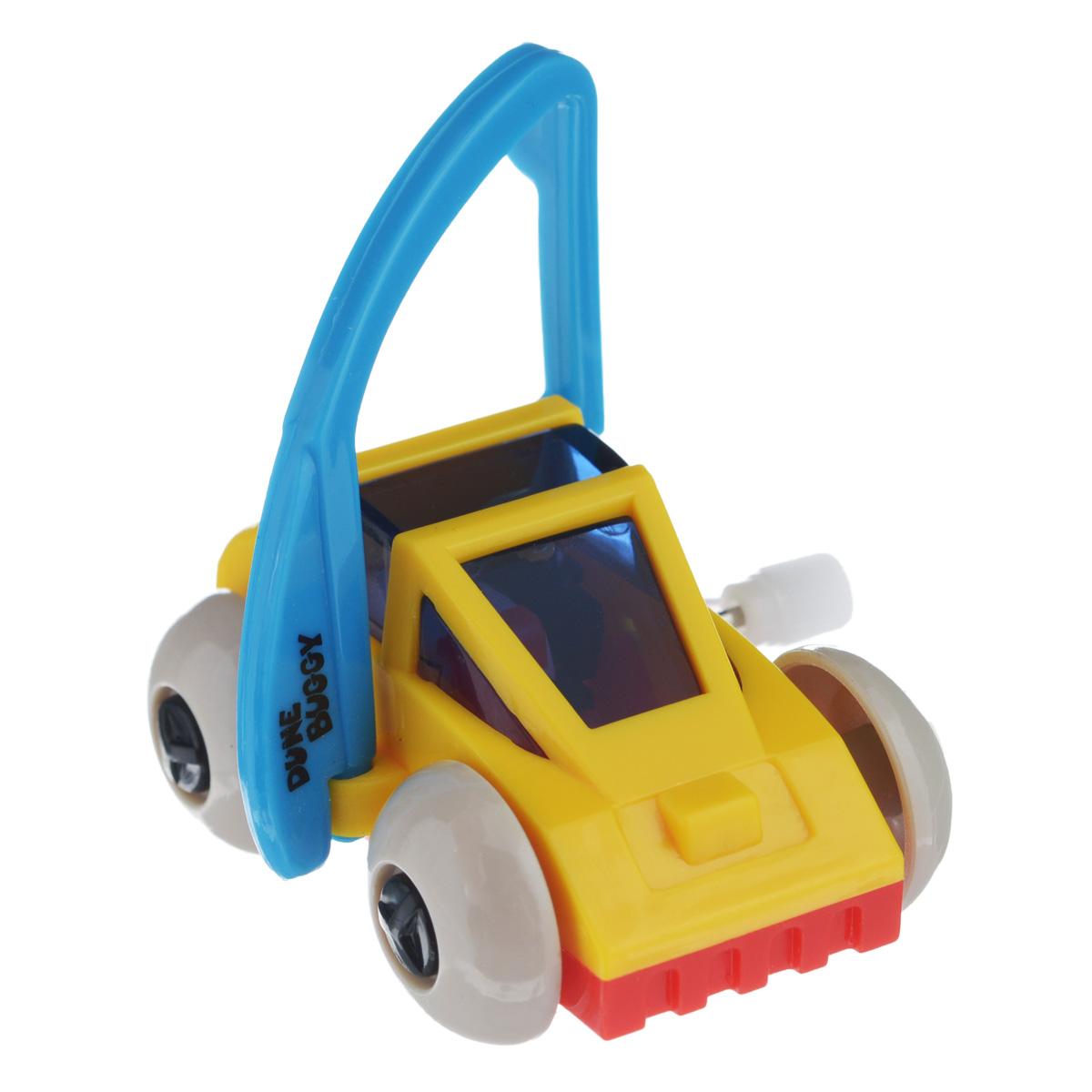 Игрушка заводная Багги, цвет: желтый, голубой2K-62BD_ желтыйИгрушка Hans Багги привлечет внимание вашего малыша и не позволит ему скучать! Выполненная из безопасного пластика, игрушка представляет собой забавную машинку. Игрушка имеет механический завод. Для запуска, придерживая колеса, поверните заводной ключ по часовой стрелке до упора. Установите игрушку на поверхность и она поедет вперед, так же во время движения машинка поднимается на задние колеса. Заводная игрушка Hans Багги поможет ребенку в развитии воображения, мелкой моторики рук, концентрации внимания и цветового восприятия.