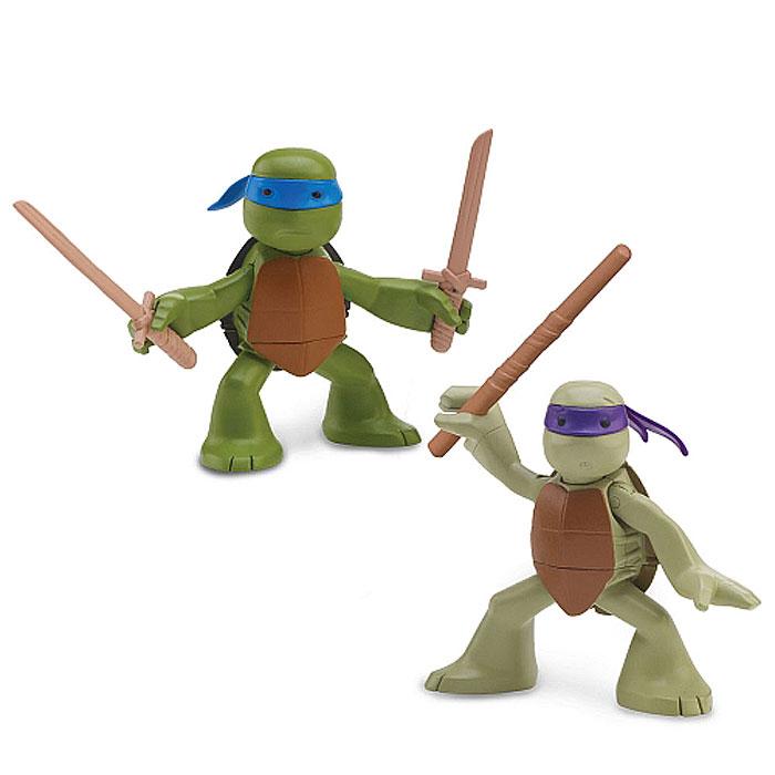 Набор фигурок Turtles Лео и Донни, 2 шт90527Набор фигурок Turtles Лео и Донни станет прекрасным подарком для вашего ребенка. Они выполнены из прочного пластика в виде Леонардо и Донателло. Голова, руки и ноги фигурок подвижны, что позволяет придавать им различные позы. В комплект входят аксессуары в виде оружия черепашек-ниндзя: катана и шест Бо. Ваш ребенок будет часами играть с этими фигурками, придумывая различные истории с участием знаменитых героев.
