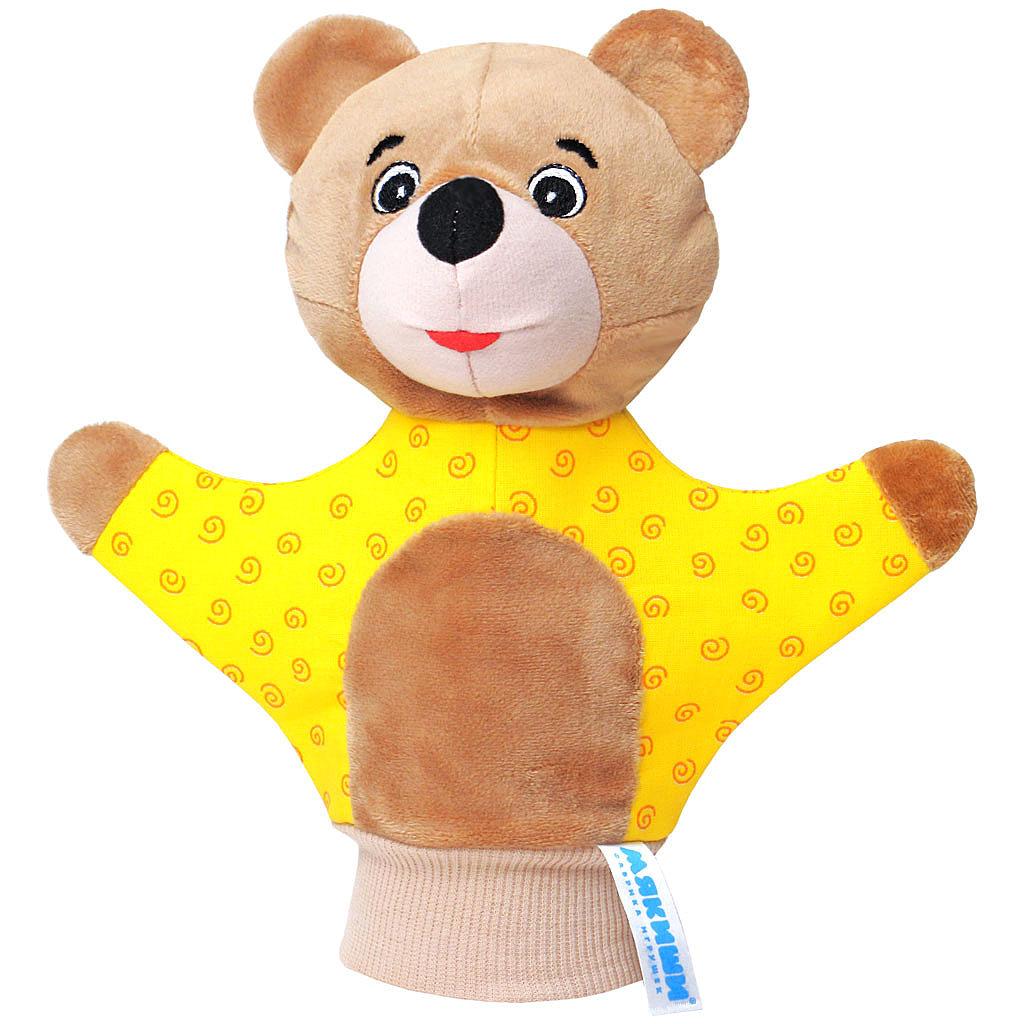 Мягкая игрушка на руку Мишка, 22 см, в ассортименте122Мягкая игрушка на руку Мишка привлечет внимание малыша и не позволит ему скучать. Игрушка выполнена из высококачественной разнофактурной ткани и мягкого наполнителя, что позволяет ей быть абсолютно безопасной в игре. Забавная игрушка-рукавичка подходит для любого размера руки: и папиной ладошки, и маленькой детской ручки. В голове медвежонка спрятана погремушка. Надев игрушку на руку, вы и ваш малыш сможете разыграть различные сценки из любимых мультфильмов или собственные придуманные истории. Постановка домашнего спектакля - всегда незабываемое событие и для актеров и для зрителей. А для малышей, к тому же - важный шаг на пути к творческому самовыражению. Игрушка-рукавичка поможет укрепить мелкую моторику рук ребенка, развить его речевые способности и воображение .