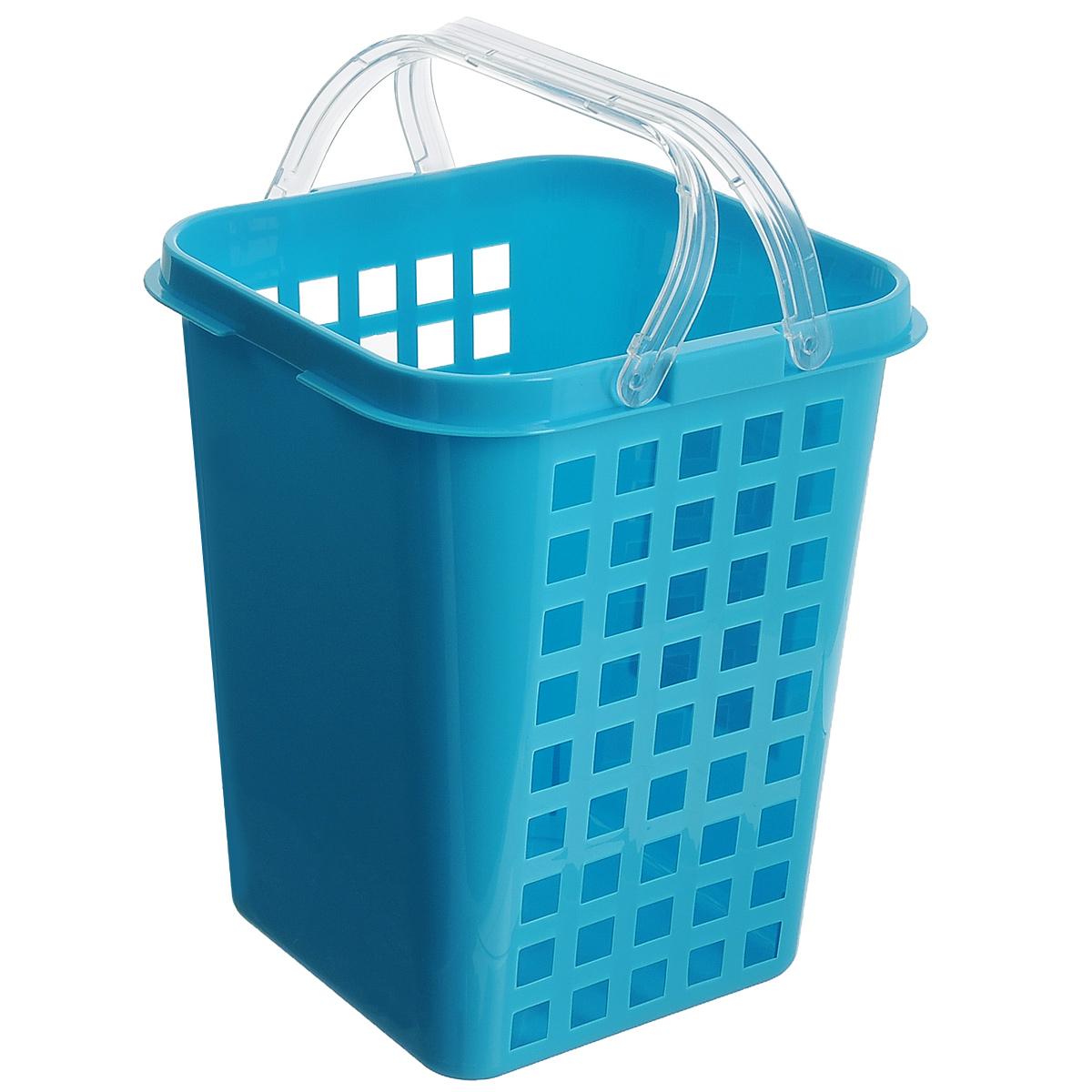 Корзина универсальная Econova, с ручками, цвет: голубой, 19 см х 18,5 см х 23 см718339Универсальная корзина Econova, изготовленная из пластика, прекрасно подойдет для хранения бытовой химии, мелкого белья, домашних мелочей, металлических инструментов и других предметов. Корпус корзины декорирован перфорацией. Благодаря двум ручкам ее легко переносить с места на место. Размер корзины: 19 см х 18,5 см х 23 см.