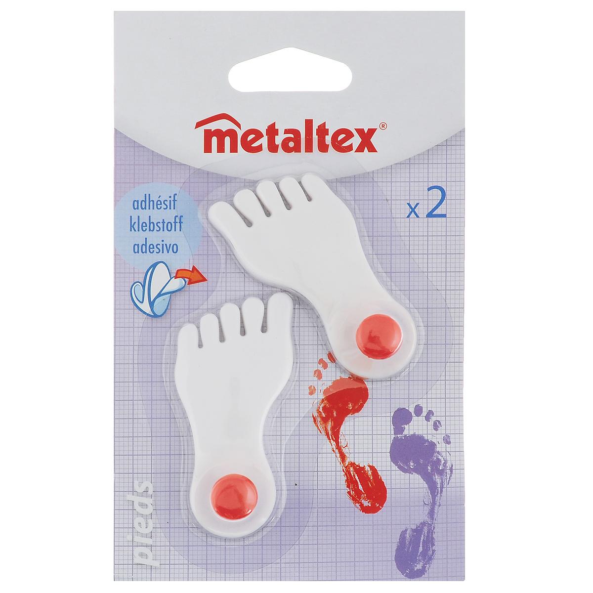 Набор крючков Metaltex Pieds, 2 шт29.40.01Набор настенных крючков Metaltex Pieds изготовлен из прочного пластика в виде левой и правой ножки. Они прекрасно подойдут для вашей ванной комнаты или кухни и не займут много места, надежно выдержав все, что вы на них повесите. Крючки могут крепится на стену с помощью липкой ленты которая находится на задней стороне крючка. Размер крючка: 3 см х 1,5 см х 6,5 см. Комплектация: 2 шт.
