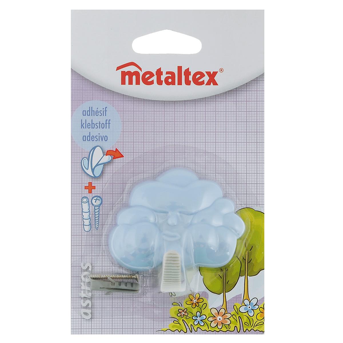 Крючок настенный Metaltex Astros, цвет: голубой40327Настенный крючок Metaltex Astros изготовлен из высококачественного цветного пластика в виде тучки. Он прекрасно подойдет для вашей ванной комнаты или кухни и не займет много места, надежно выдержав все, что вы на него повесите. Крючок крепится на стену с помощью липкой ленты, которая находится на задней стороне крючка или при помощи шурупа (входит в комплект). Он приклеивается к гладкой, ровной и чистой поверхности. На него можно вешать полотенца или любые другие вещи.