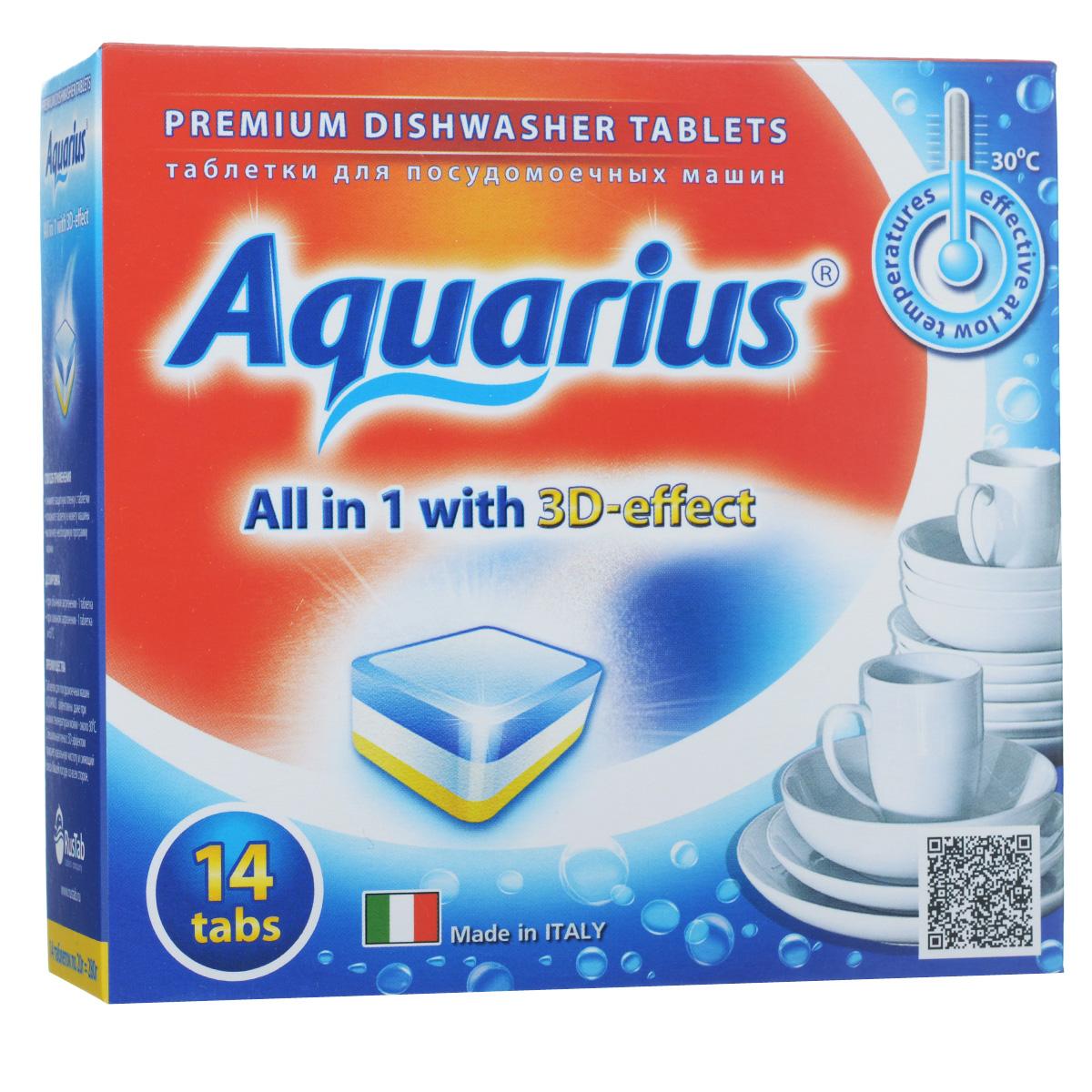 Таблетки для посудомоечных машин Lotta Aquarius, 14 шт16320Таблетки Lotta Aquarius предназначены для посудомоечных машин. Специальная пена с 3D- эффектом придает идеальную чистоту и сияющий блеск вашей посуде со всех сторон. Таблетки эффективны даже при низких температурах мойки - около 30°С. Для этого необходимо снять защитную пленку, положить таблетку в кювету машины и включить необходимую программу. В комплект входит 14 штук. Состав: фосфаты более 30%, кислородосодержащий отбеливатель более 5%, но менее 15%, поликарбоксилаты, фосфонаты, неионные ПАВ, энзимы (амилаза, протеаза), краситель, отдушка менее 5%. Товар сертифицирован.