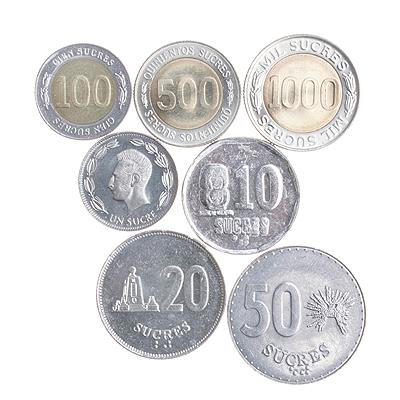 Комплект из 7 монет. Металл. Эквадор, 1988 - 1997 гг.ОС22806Комплект из 7 монет. Металл. Эквадор, 1988 - 1997 гг. Комплект составили монеты: 1. 1000 сукре. 1997 год Диаметр 2,5 см. 2. 500 сукре. 1997 год Диаметр 2,1 см. 3. 100 сукре. 1997 год Диаметр 2 см. 4. 50 сукре. 1991 год Диаметр 2,8 см. 5. 20 сукре. 1991 год Диаметр 2,5 см. 6. 10 сукре. 1991 год Диаметр 2,4 см. 7. 1 сукре. 1988 год Диаметр 2 см. Сохранность хорошая.