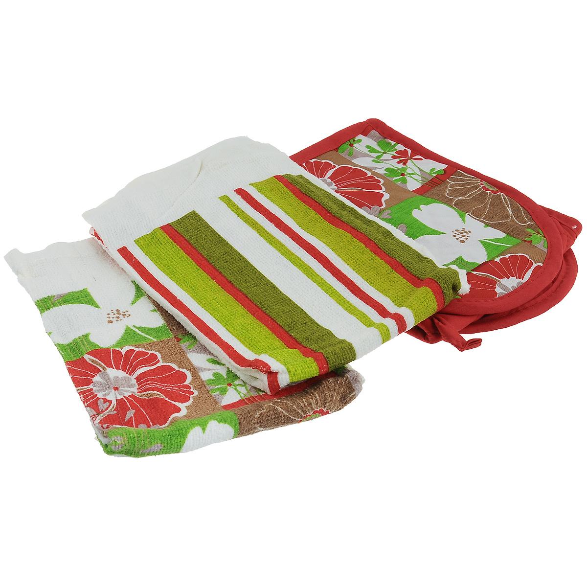 Набор для кухни Primavelle Цветы, 3 предмета49328584-f25Набор для кухни Primavelle Цветы состоит из двойной прихватки и двух полотенец. Предметы набора изготовлены из натурального хлопка и оформлены ярким цветочным изображением. Полотенца подарят вам мягкость и необыкновенный комфорт в использовании. Они идеально впитывают влагу и сохраняют свою необычайную мягкость даже после многих стирок. Стеганая двойная прихватка снабжена кармашками для рук и петелькой для удобного подвешивания на крючок. Такой комплект украсит ваш интерьер или станет прекрасным подарком. Размер полотенец: 63 см х 38 см. Размер прихватки: 78,5 см х 16,3 см.