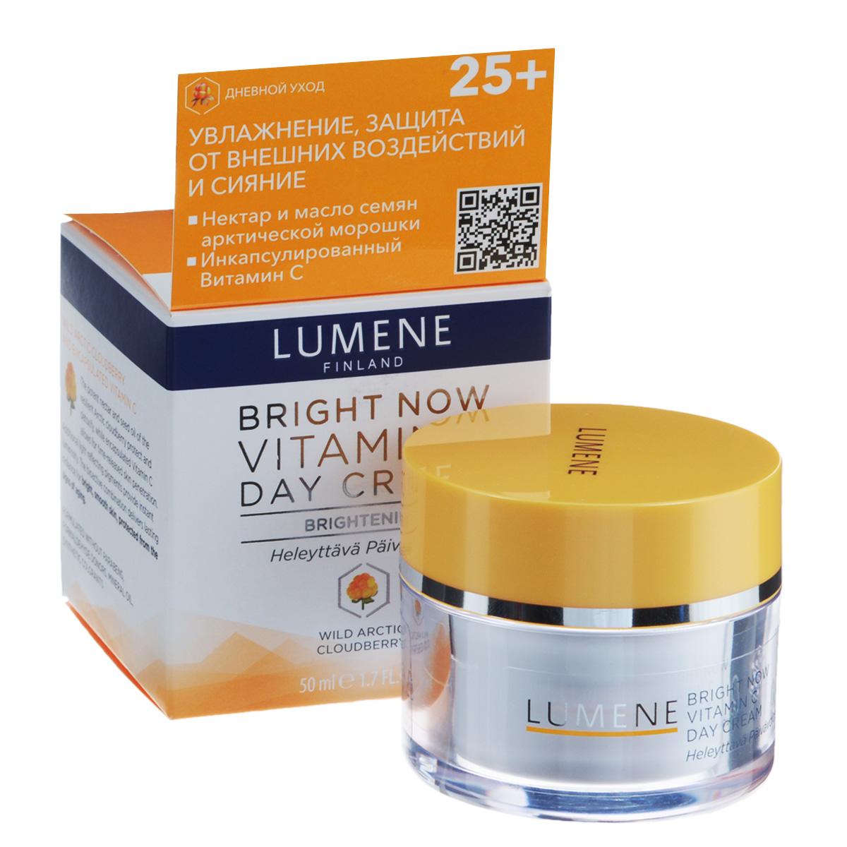 Lumene Дневной крем для лица Bright Now Vitamin C, придающий сияние, 50 млNL574-80140Дневной крем Lumene Bright Now Vitamin C освежает, увлажняет и восстанавливает баланс влаги в коже, улучшает и выравнивает цвет лица. Подходит для всех типов кожи. Специально разработанная формула борется с появлением первых признаков старения. Сочетание двух мощных ингредиентов - нектара и масла семян арктической морошки - является сильным антиоксидантом, который ухаживает за кожей, обеспечивая эффект детоксикации и защищая от внешних воздействий. Инкапсулированный витамин С придает коже сияние. Светоотражающие пигменты мгновенно освежают цвет лица. Произведено без парабенов, производных формальдегида, минеральных масел и синтетических красителей. Товар сертифицирован.