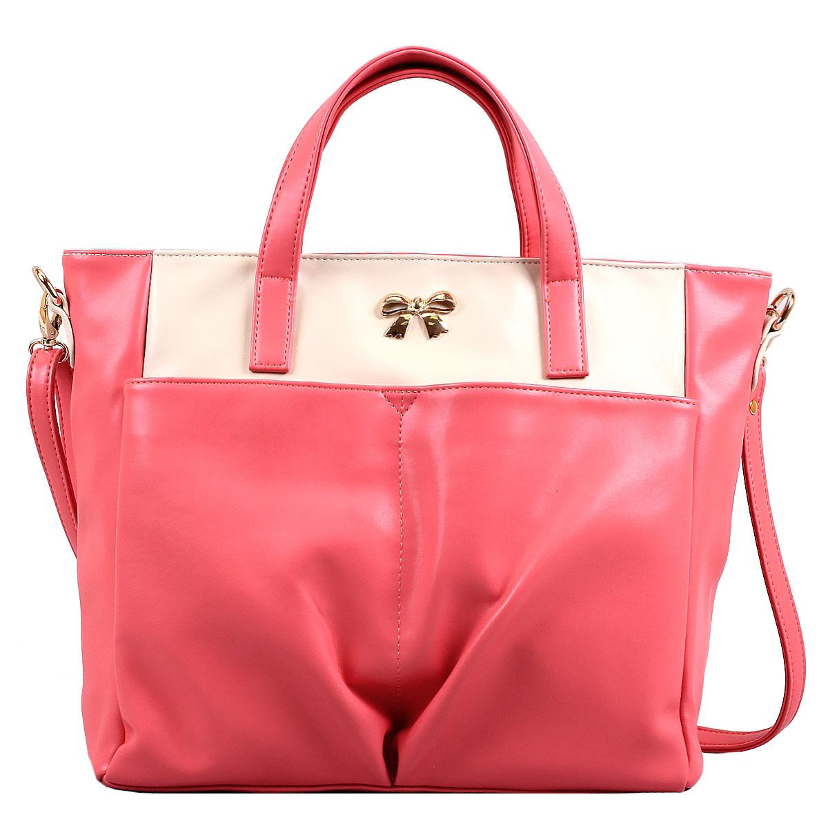 Сумка женская Leighton, цвет: розовый, молочный. 10642-08210642-082/11/082/27 беж/рЖенская сумка Leighton выполнена из высококачественной искусственной кожи, украшена декоративным бантиком. Изысканный декор, стильная фурнитура, классическая форма в сочетании с вместительностью и удобством делают эту модель прекрасным дополнением к вашему образу. Модель закрывается на застежку-молнию. Внутри - большое отделение, разделенное средником на застежке-молнии, также есть два накладных кармашка для мелочей, телефона и врезной карман на застежке-молнии. Лицевую сторону украшают два накладных кармана на магнитных кнопках. Задняя сторона дополнена плоским врезным карманом на застежке-молнии. Сумка оснащена двумя удобными ручками и регулируемым плечевым ремнем. Прекрасное дополнение к отличному настроению.