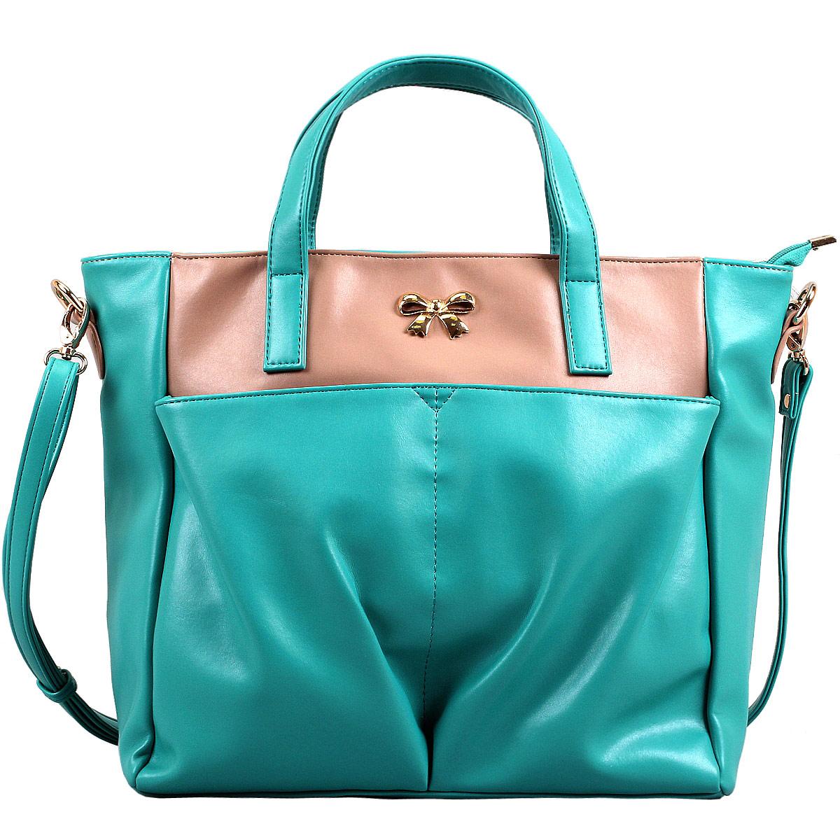 Сумка женская Leighton, цвет: какао, бирюзовый. 10642-08210642-082/210/082/78Женская сумка Leighton выполнена из высококачественной искусственной кожи, украшена декоративным бантиком. Изысканный декор, стильная фурнитура, классическая форма в сочетании с вместительностью и удобством делают эту модель прекрасным дополнением к вашему образу. Модель закрывается на застежку-молнию. Внутри - большое отделение, разделенное средником на застежке-молнии, также есть два накладных кармашка для мелочей, телефона и врезной карман на застежке-молнии. Лицевую сторону украшают два накладных кармана на магнитных кнопках. Задняя сторона дополнена плоским врезным карманом на застежке-молнии. Сумка оснащена двумя удобными ручками и регулируемым плечевым ремнем. Прекрасное дополнение к отличному настроению.