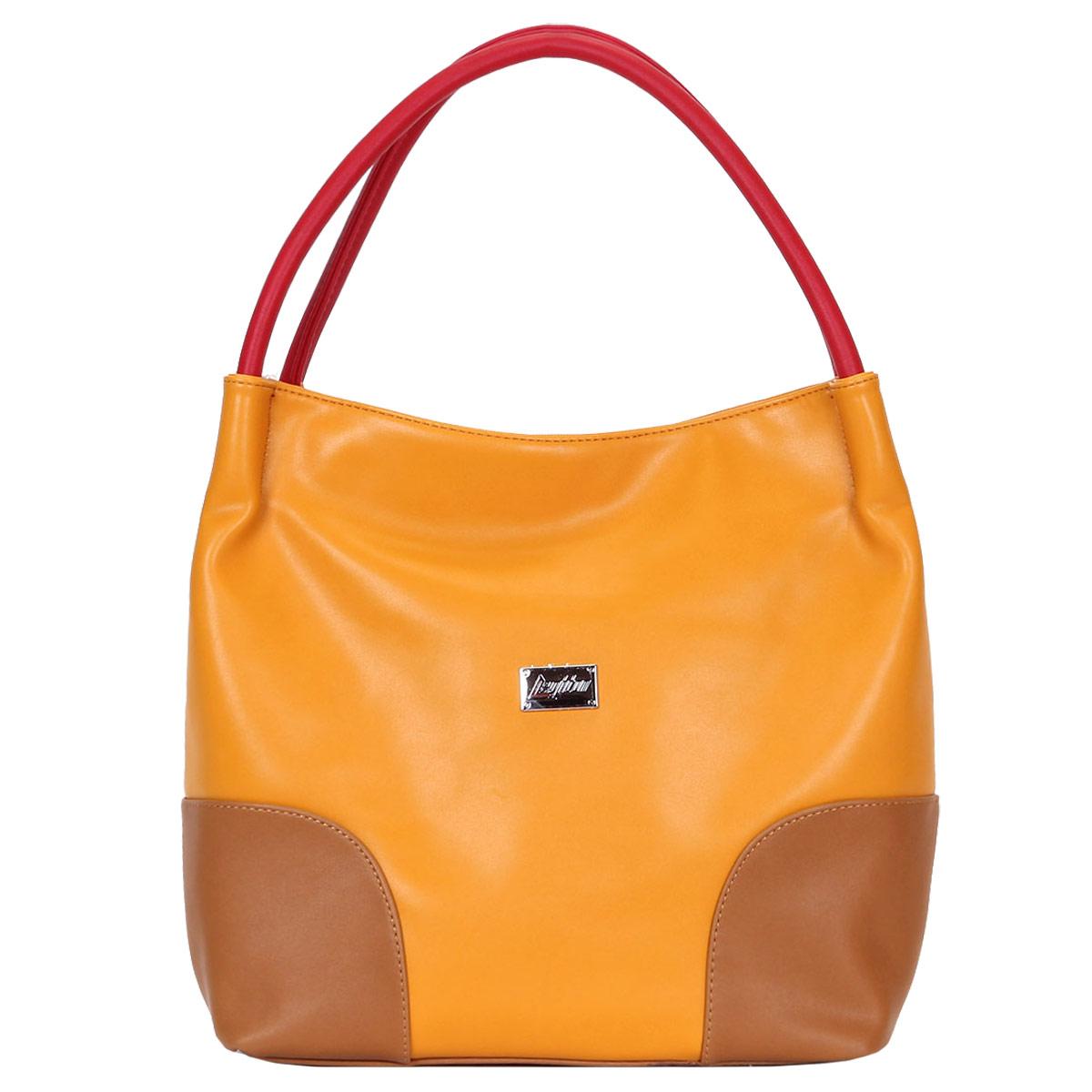 Сумка женская Leighton, цвет: желтый, бежевый. 350204-1092/826/1092/806/350204-1092/826/1092/806/Модная женская сумка Leighton выполнена из высококачественной искусственной кожи и декорирована небольшой металлической пластиной с названием бренда на лицевой стороне. Сумка закрывается на удобную застежку-молнию. Внутреннее отделение разделено карманом-средником и дополнено двумя накладными кармашками для мелочей и мобильного телефона и врезным карманом на застежке-молнии. На обратной стороне сумки расположен врезной карман на молнии. Дно защищено металлическими ножками, обеспечивающими дополнительную устойчивость. Изделие упаковано в фирменный чехол. Сумка Leighton - это стильный аксессуар, который подчеркнет вашу индивидуальность и сделает ваш образ завершенным. Классическое цветовое сочетание, стильный декор, модный дизайн - прекрасное дополнение к гардеробу модницы.