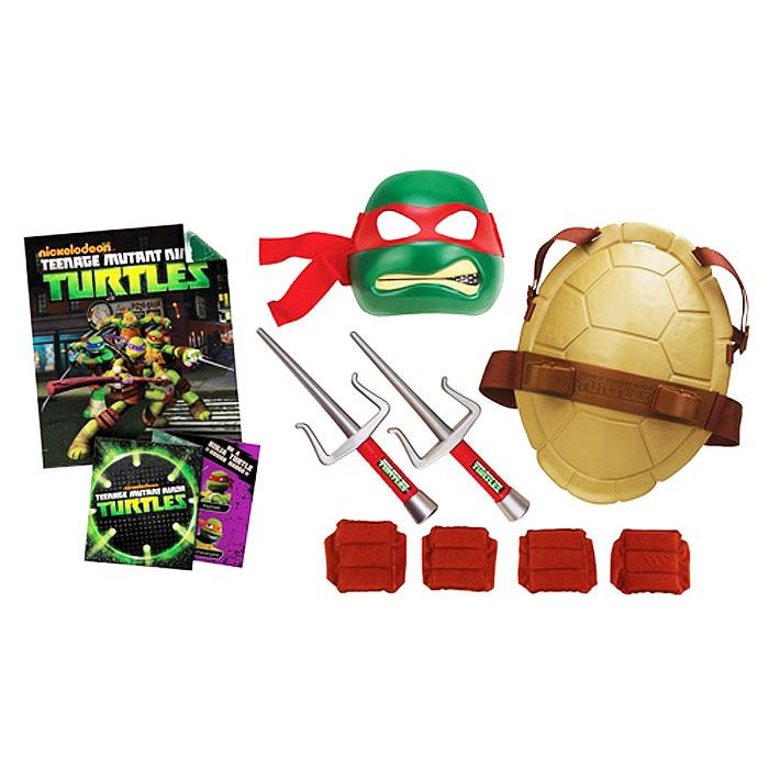 Игровой набор Turtles Боевое снаряжение Черепашки-Ниндзя: Рафаэль92082Игровой набор Turtles Боевое снаряжение Черепашки-Ниндзя: Рафаэль непременно понравится вашему ребенку. Он включает в себя предметы боевого снаряжения Черепашки-Ниндзя Рафаэля: маску, панцирь-щит, 2 кинжала-сай, 2 налокотника, 2 наколенника, почетный значок, постер и секретное послание. Маска имеет прорези для глаз и держится на голове при помощи эластичных ремешков на липучке. Внутри маски находится специальная резиновая накладка по контуру глаз и носа. Щит выполнен из жесткого пластика и оснащен текстильными регулируемыми ремнями: с помощью липучки щит можно закрепить на поясе, с помощью пластиковых фиксаторов - на обоих плечах. Также щит снабжен двумя специальными универсальными держателями, которые подходят для любого оружия Черепашек-Ниндзя. С игровым набором Turtles Боевое снаряжение Черепашки-Ниндзя: Рафаэль ваш ребенок без труда перевоплотиться в любимого героя. Порадуйте своего непоседу таким замечательным подарком!