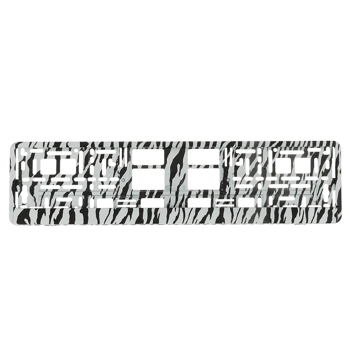 Рамка под номер ЗебраЗ0000014145Рамка Зебра не только закрепит регистрационный знак на вашем автомобиле, но и красиво его оформит. Основание рамки выполнено из полипропилена, материал лицевой панели - пластик. Она предназначена для крепления регистрационного знака российского и европейского образца, декорирована принтом. Устанавливается на все типы автомобилей. Крепления в комплект не входят. Стильный дизайн идеально впишется в экстерьер вашего автомобиля. Размер рамки: 53,5 см х 13,5 см. Размер регистрационного знака: 52,5 см х 11,5 см.
