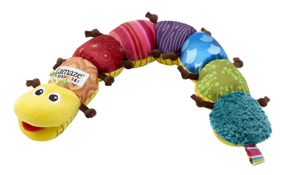LAMAZE Мягкая музыкальная игрушка Музыкальная гусеницаLC27107RUЯркая музыкальная гусеница изготовлена из приятной на ощупь велюровой ткани с разнообразными текстурами. Она издает забавные звуки - пищит, шуршит, шелестит, звенит, а при нажатии на голову - проигрывает веселую мелодию. Игры с ней способствуют развитию у ребенка мелкой моторики, слуха и тактильных ощущений. На обратной стороне гусеницы расположен ростомер. Рекомендуется детям с 3 месяцев.