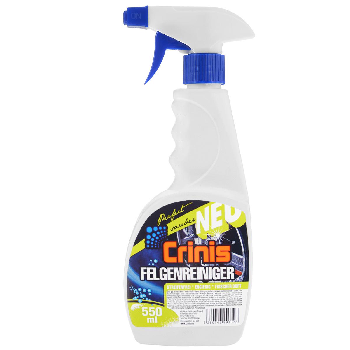 Средство для очистки колес Crinis Felgenreiniger, 550 млAFEL0550Средство Crinis Felgenreiniger предназначено для очистки колес и дисков. Быстро и эффективно удаляет на тормозных колодках налет, масло, грязь дорог, в это же время придаёт блеск. Продукт не загрязняет окружающую среду, характеризуется сильным очищающим действием и защитными свойствами. Подходит для всех типов дисков, кроме хромированных, не вредит резиновым и пластмассовым деталям. Состав: неионные ПАВ менее 5%-ой фосфорной кислоты, лимонной кислоты. Товар сертифицирован.
