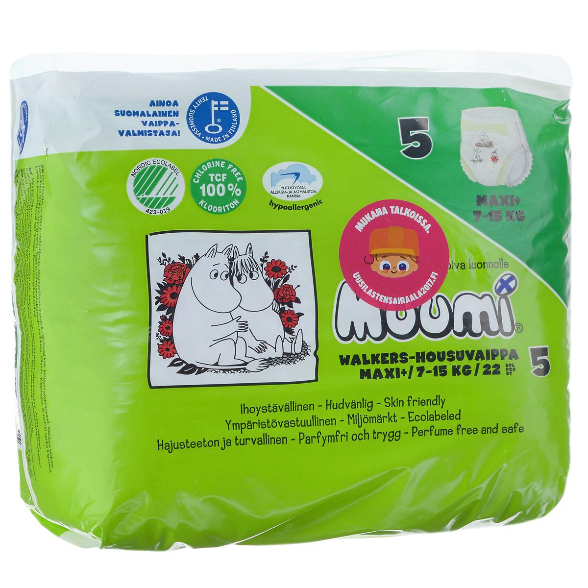 Muumi Подгузники-трусики Walkers Maxi+ 5, 7-15 кг, 22 шт59310Muumi Walkers Maxi+ - это 100% биоразлагающиеся одноразовые гипоаллергенные подгузники-трусики, обладающие хорошей впитываемостью. Впитывающий слой состоит из полностью биоразлагающейся, бесхлорной финской целлюлозы. Поверхность подгузника остается сухой, благодаря мембране, мгновенно пропускающей влагу, средний слой с минимальным содержанием суперабсорбента связывает жидкость в гель, в результате нежная кожа ребенка остается сухой и здоровой. Подгузники без ароматизации, очищены кислородом и без хлора, они не содержат оптических осветлителей, латекса, формальдегида и фталатов. Дерматологически протестированы. Материалы отвечают экологическим критериям. Особенности: - ткань AIR позволяет коже ребенка дышать, при этом удерживая влагу, - застежки с многократной фиксацией исключают открывание при движении ребенка, - красочная лицевая часть застежки, - эластичный гофрированный пояс не сковывает движений малыша и предотвращает протекание с концов...