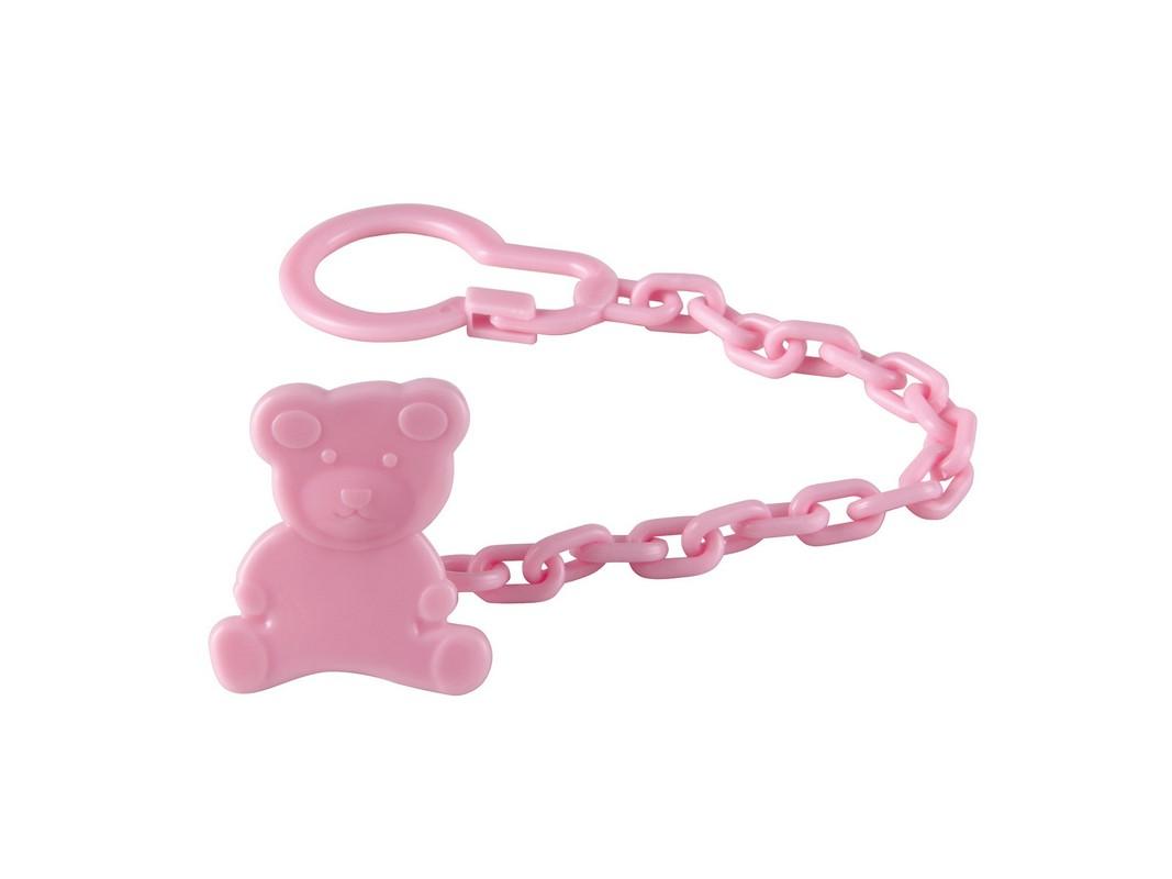 Клипса-держатель для пустышки Happy Baby Umka, цвет: розовый11006_розовыйКлипса-держатель для пустышки Happy Baby Umka позволит избежать ситуации, когда пустышка падает, теряется и становится грязной. Держатель выполнен из пластика в виде мишки. Пустышка крепится к пластиковой цепочке держателя с помощью карабина, а сам держатель с помощью клипсы легко пристегивается к нагруднику, одежде ребенка или коляске. Также к держателю можно прикрепить прорезыватель.